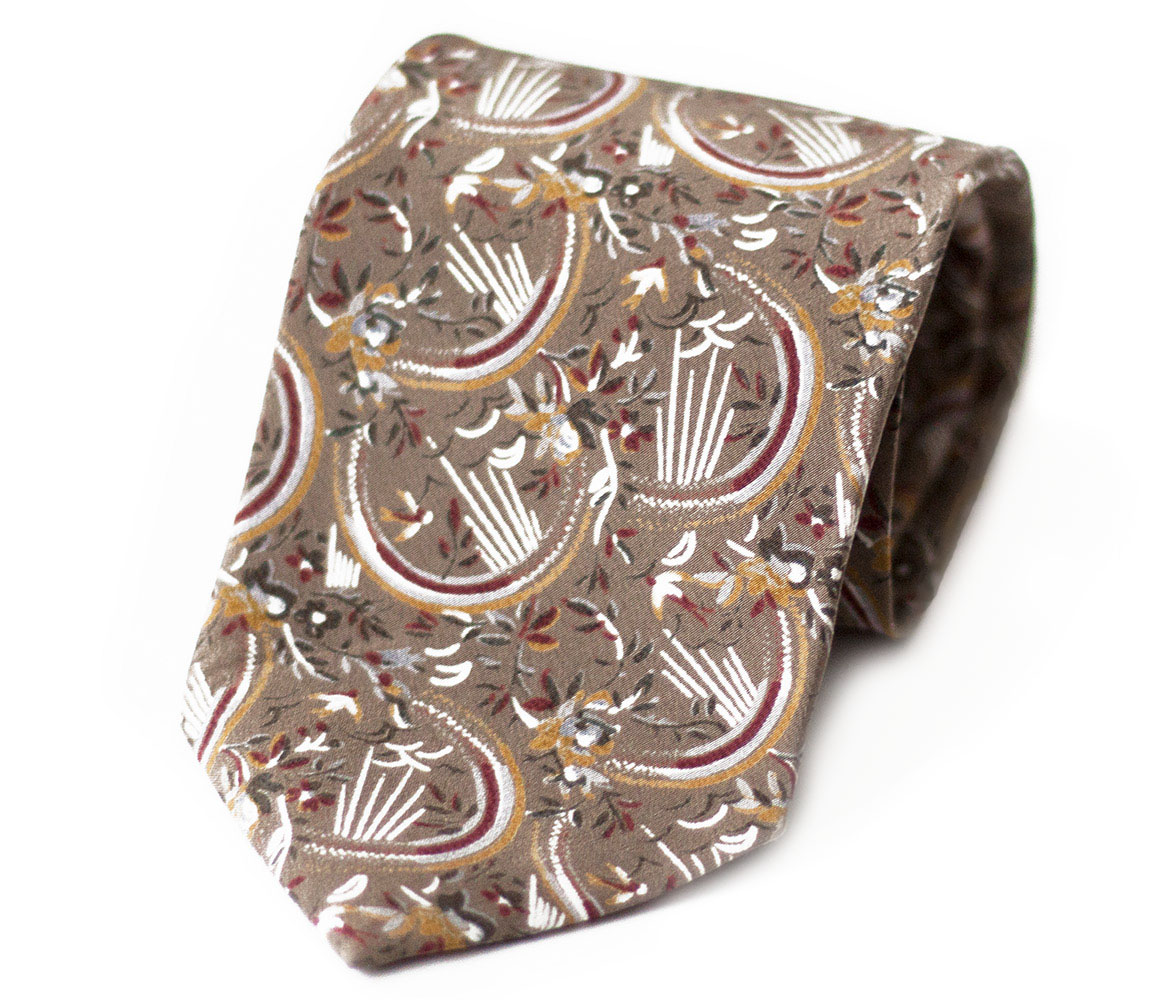 Truffle Brown Abstract Flower Three-Fold Vintage Silk Tie