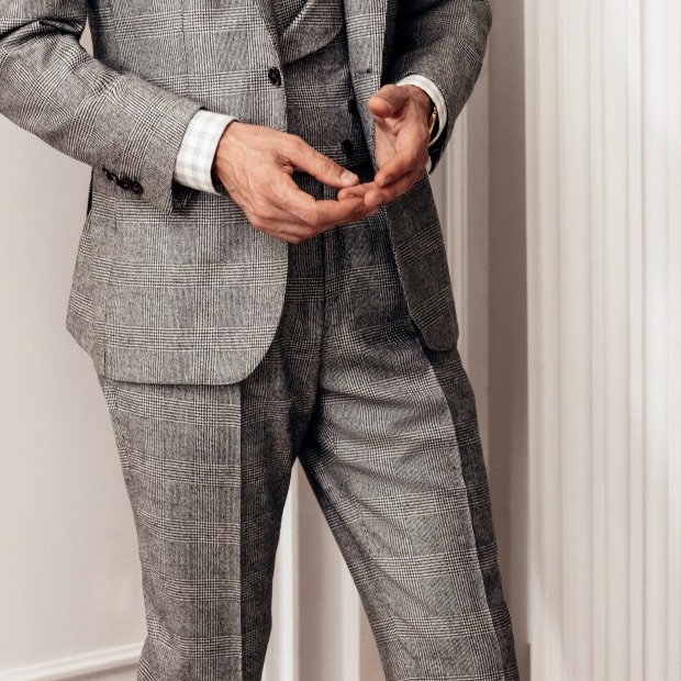 Black and Grey Wool and Cashmere Glen Check Trousers