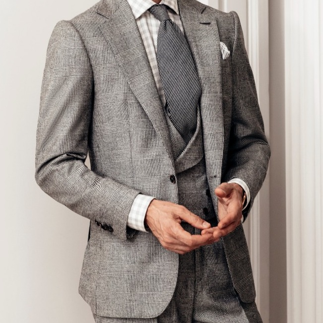 Black and Grey Wool and Cashmere Glen Check Waistcoat