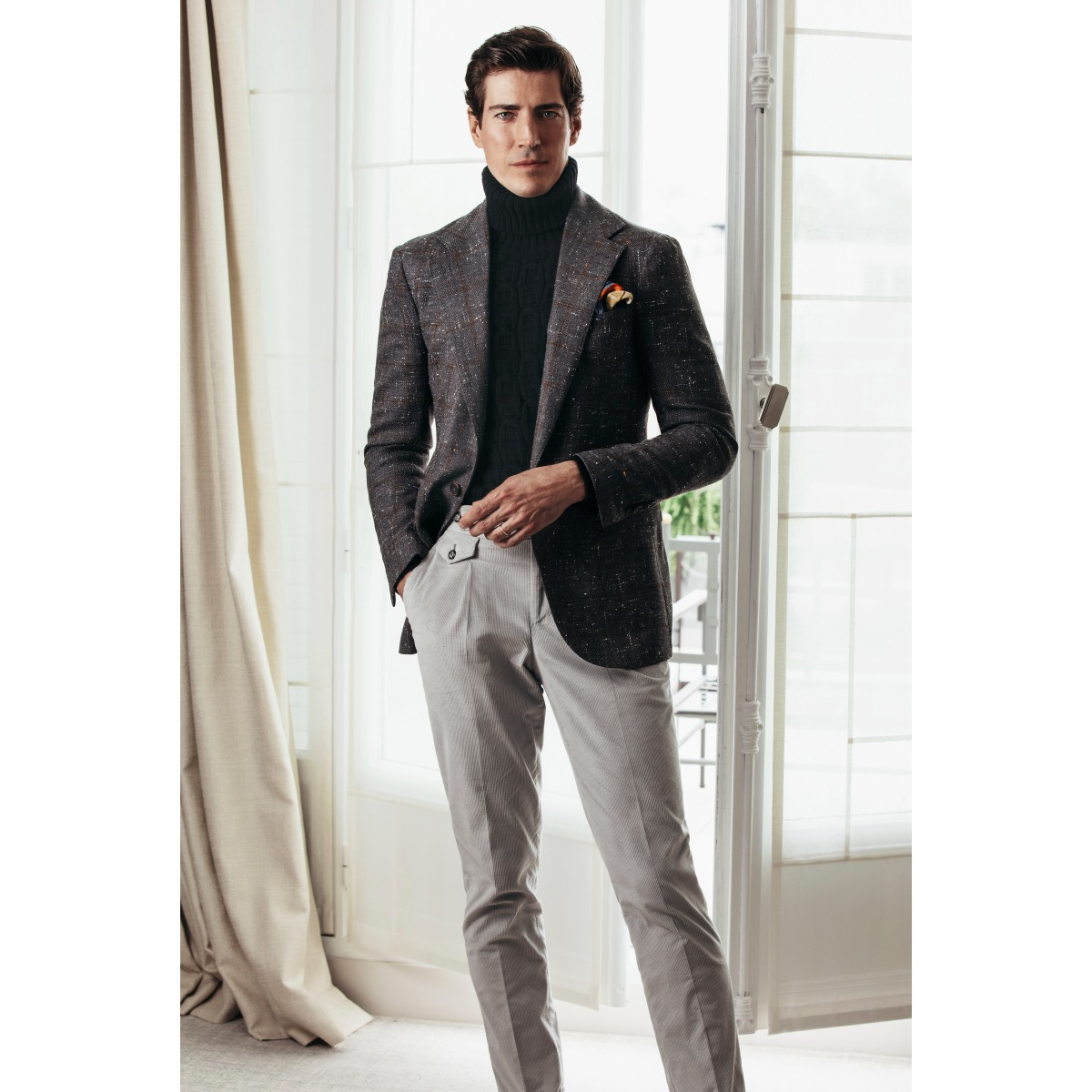 Grey Wool and Silk Windowpane Check Single-Breasted One-Button Jacket