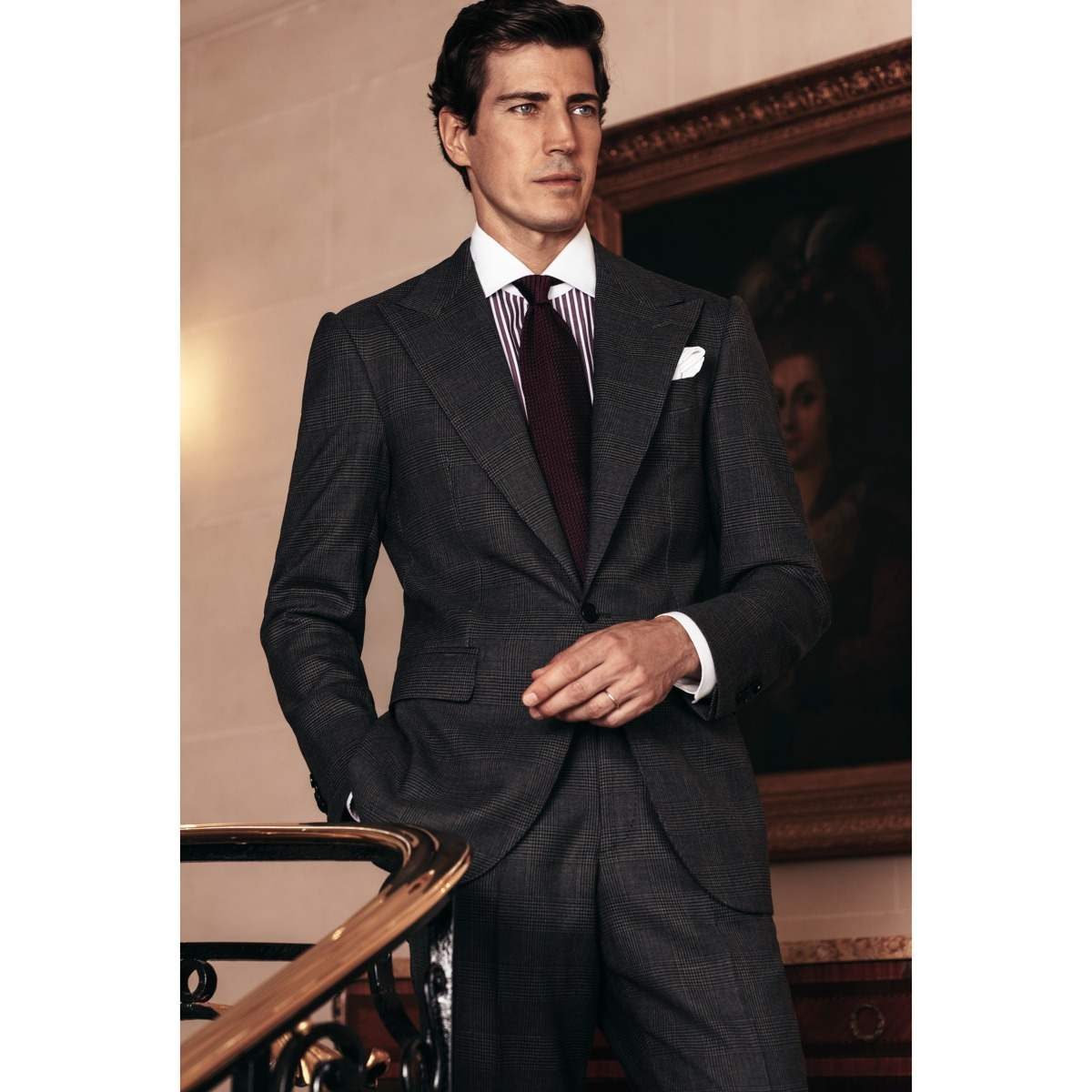 Grey Wool Glen Check Trousers