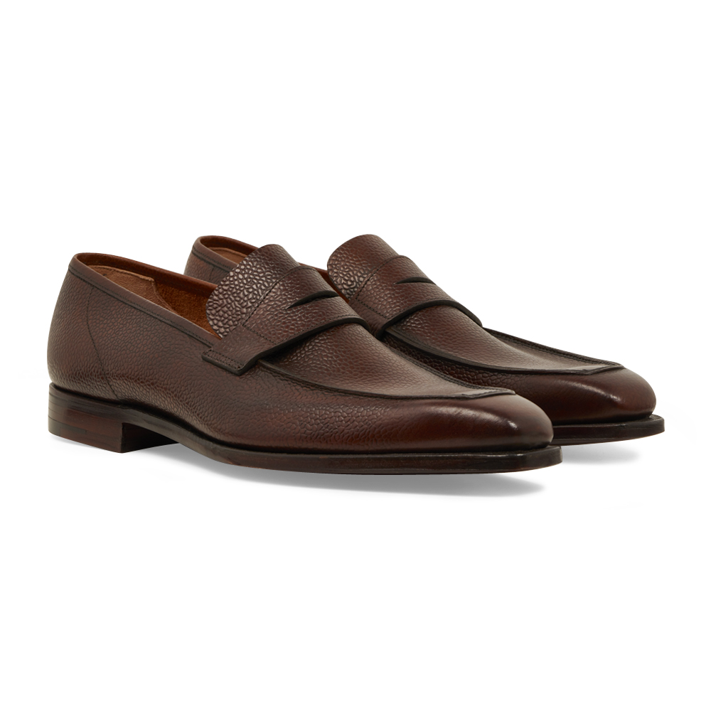 Dark Brown Scotch Grain Calf Leather George Loafers