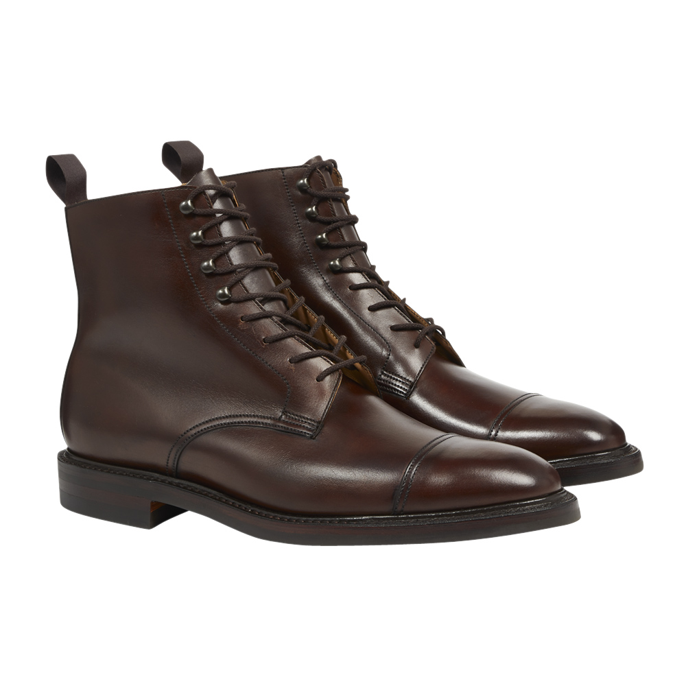 Dark Brown Burnished Calf Leather Harlech Boot