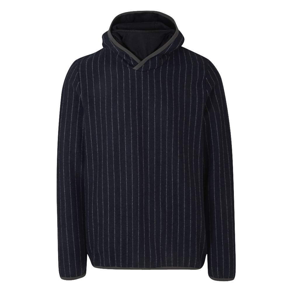 Graphite Grey Pinstripe Wool-Cashmere Blend Hooded Sweatshirt