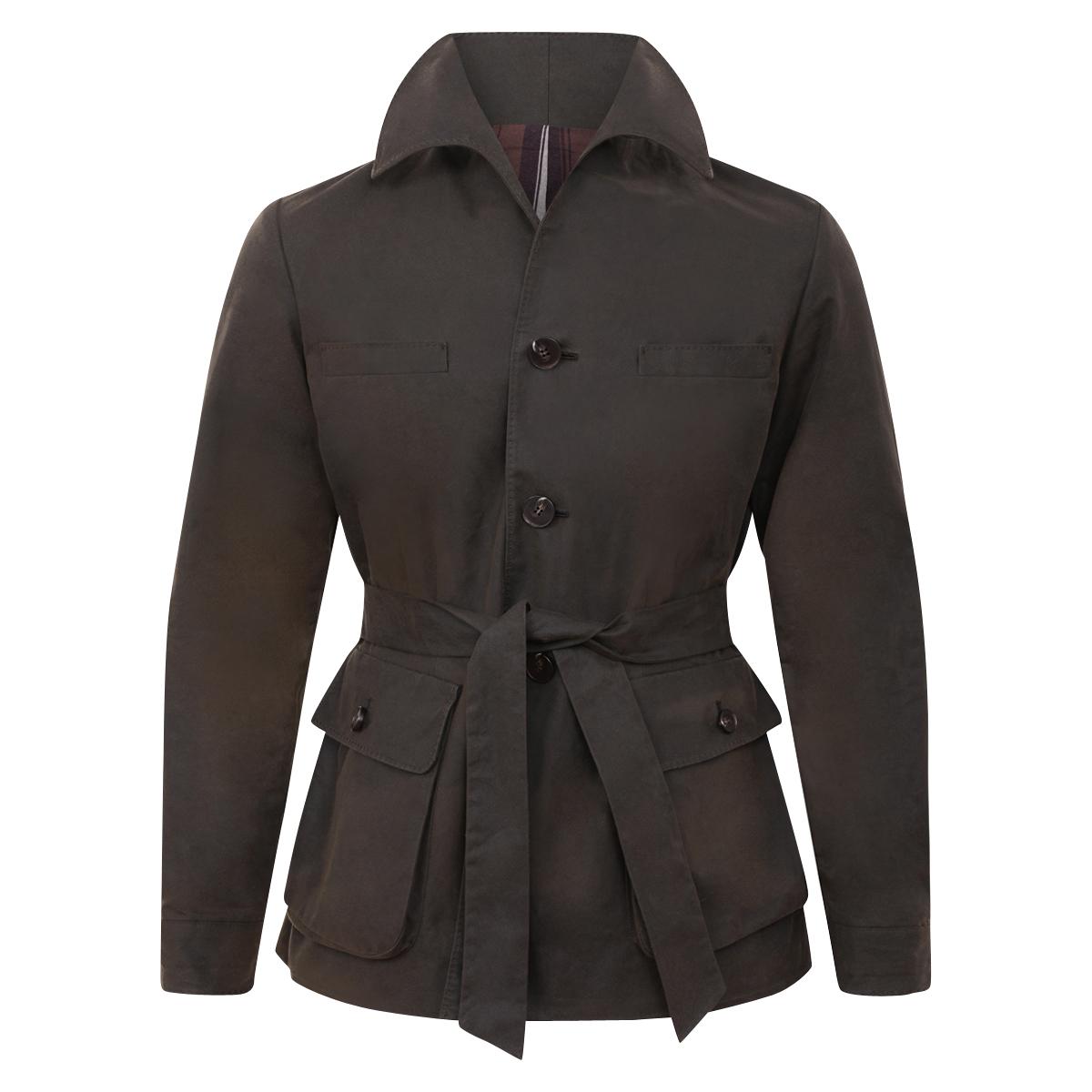 Olive Brown Waxed-Cotton Cadogan Safari Jacket