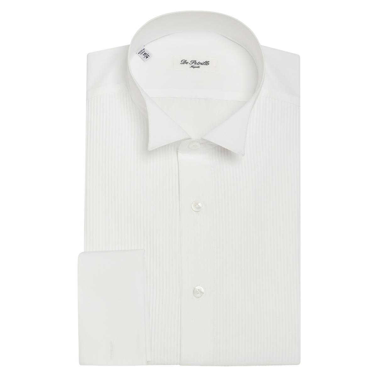 White Cotton Winged Collar Tuxedo Shirt