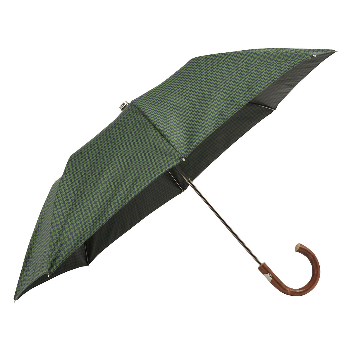 Green and Blue Houndstooth and Wood Folding Umbrella