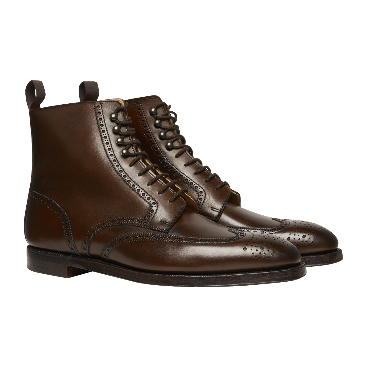 Dark Brown Burnished Leather Bryan Brogue Derby Boot