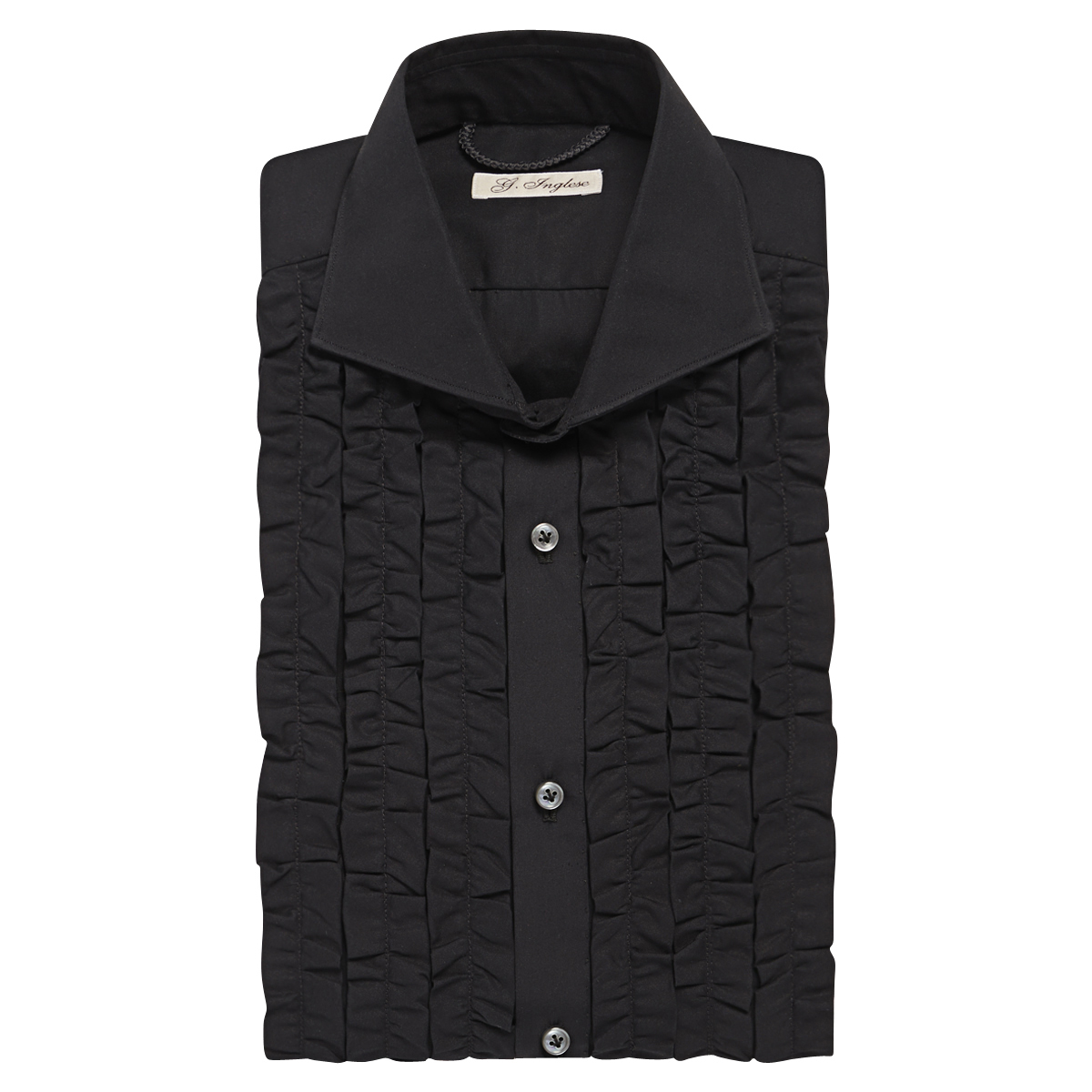 Black Cotton Poplin Ruched Tuxedo Shirt