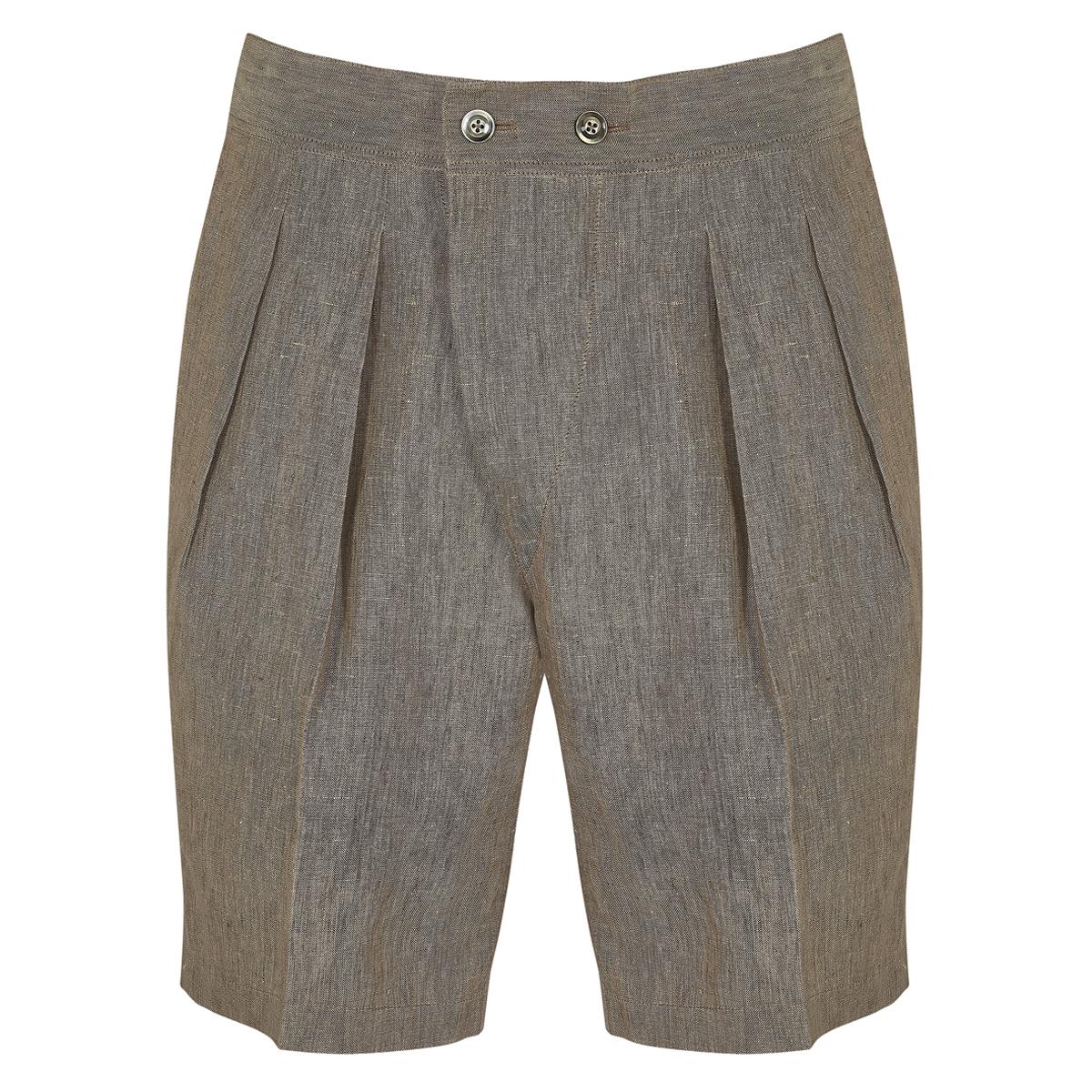 Brown Linen Safari Leisure Shorts