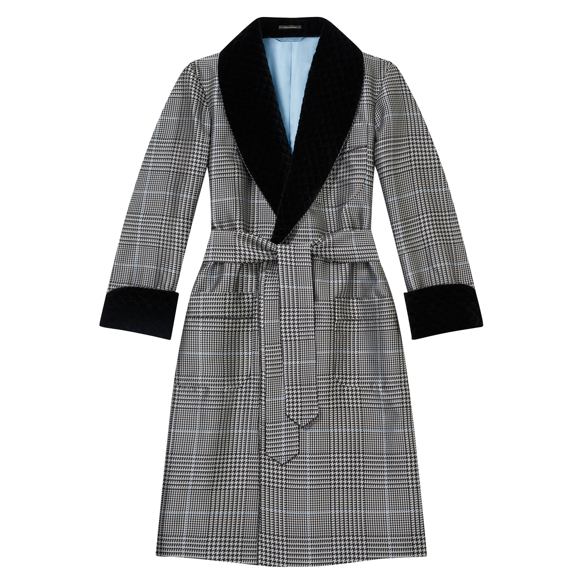 Navy Prince Of Wales Check Lined Silk Dressing Gown