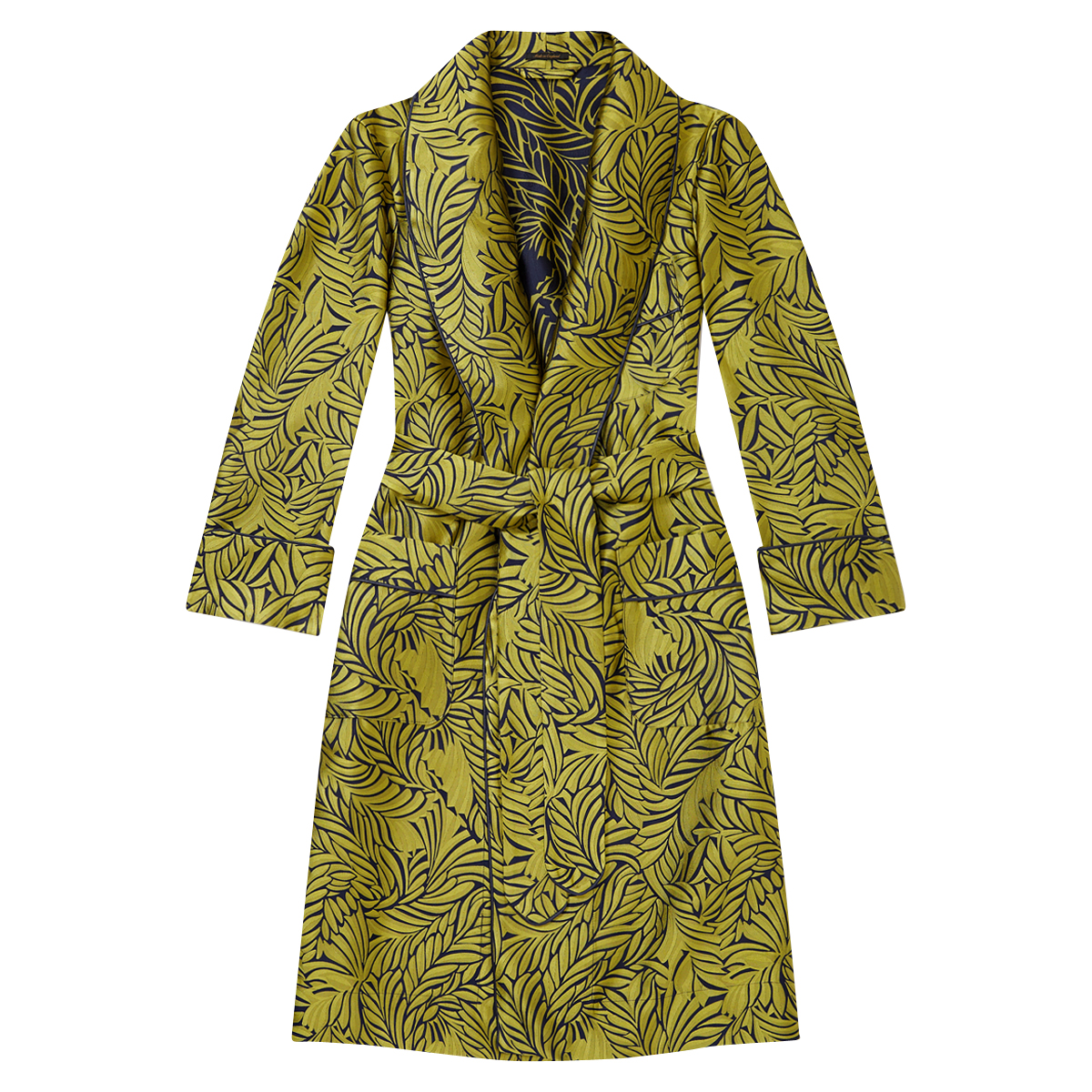 Lime Leaves Unlined Silk Dressing Gown