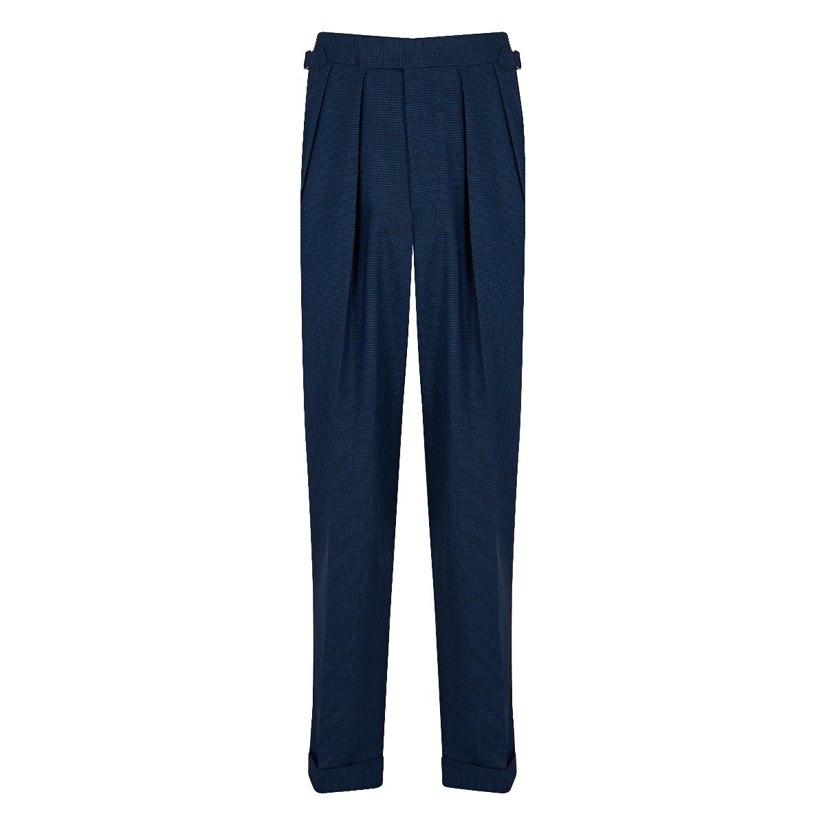 Blue Houndstooth 4-Ply Tropical Wool Aleksandar Trousers