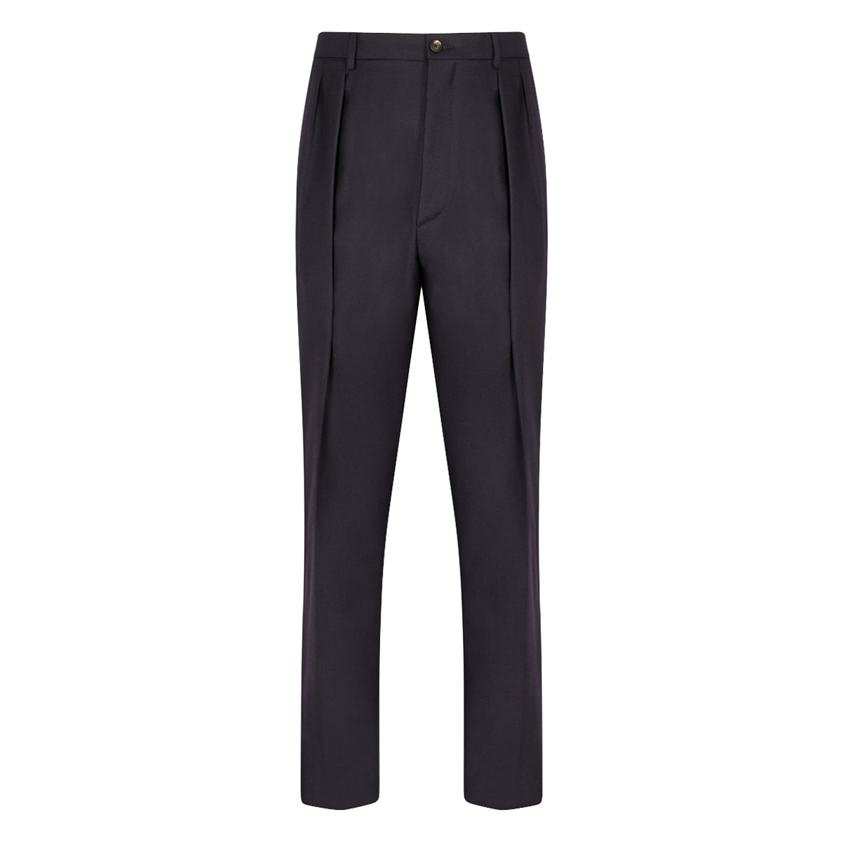 Navy Wool Double Pleated Trouser