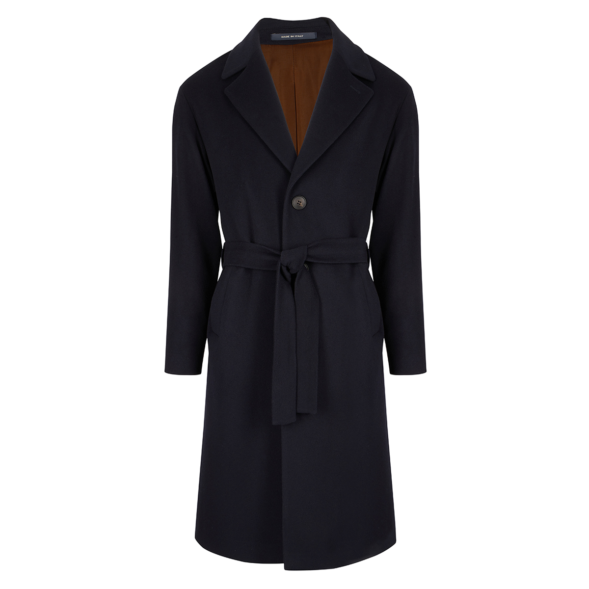Navy Wool and Cashmere Single Breasted Coat