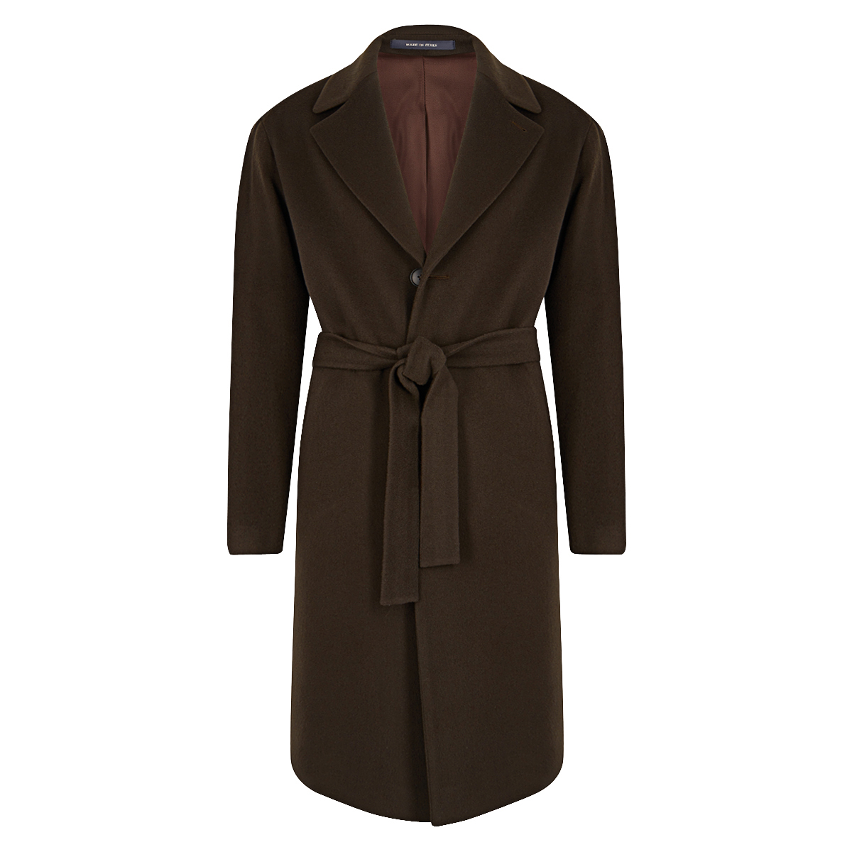 Brown Wool and Cashmere Single Breasted Coat