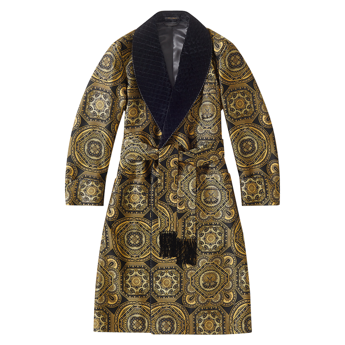 Black And Gold Porcelano Lined Dressing Gown