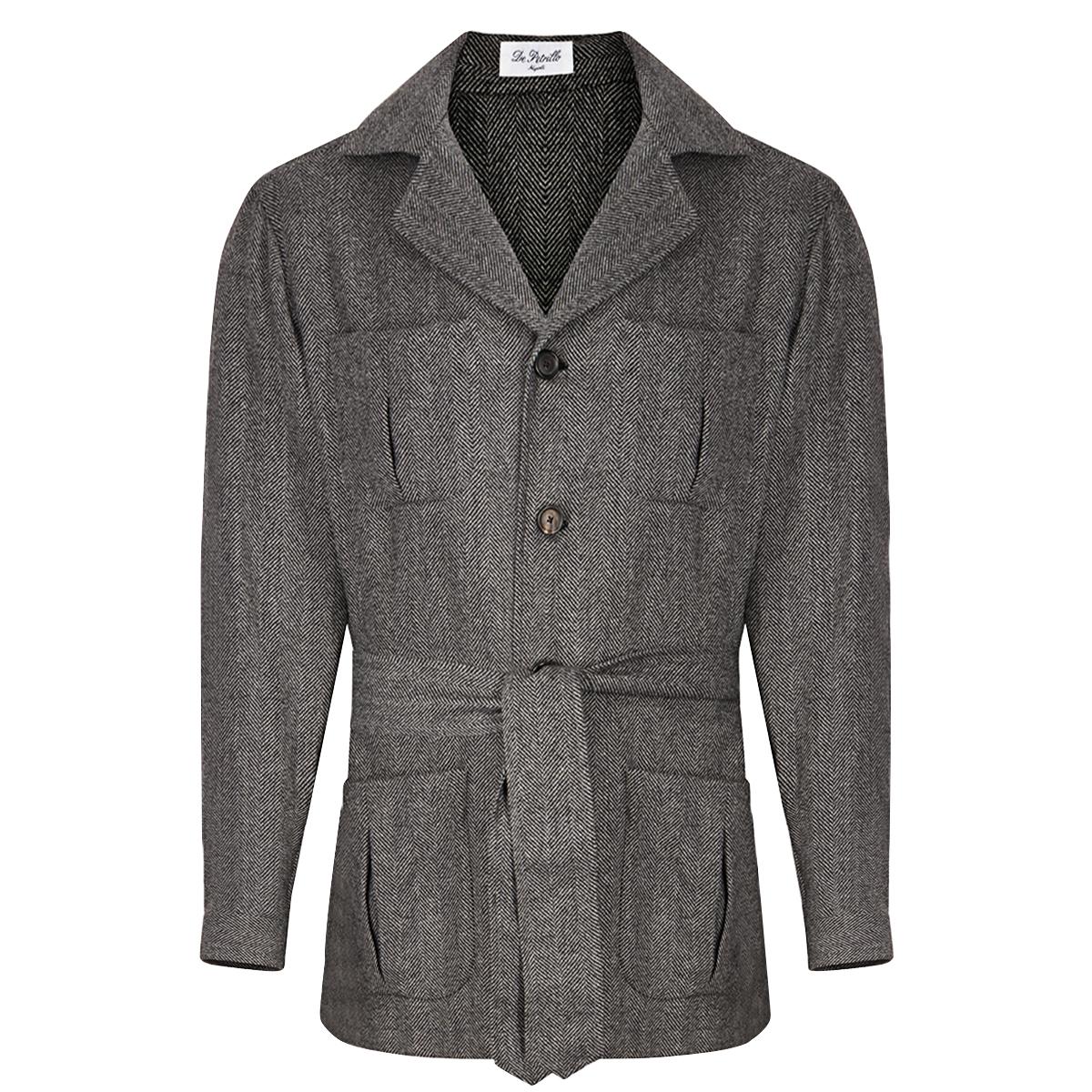 Dark Grey Wool and Cashmere Herringbone Sahariana