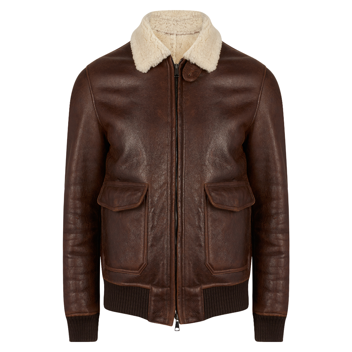 Dark Brown Sheepskin Vintage Jacket