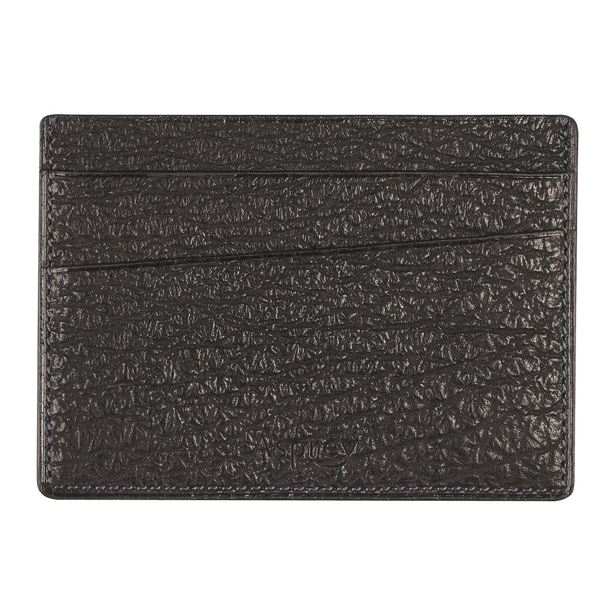 Black Shark Skin Leather Bond St. Card Slip Case