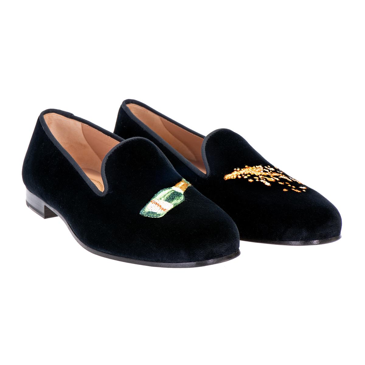 Champers Black Cotton Velvet Slipper