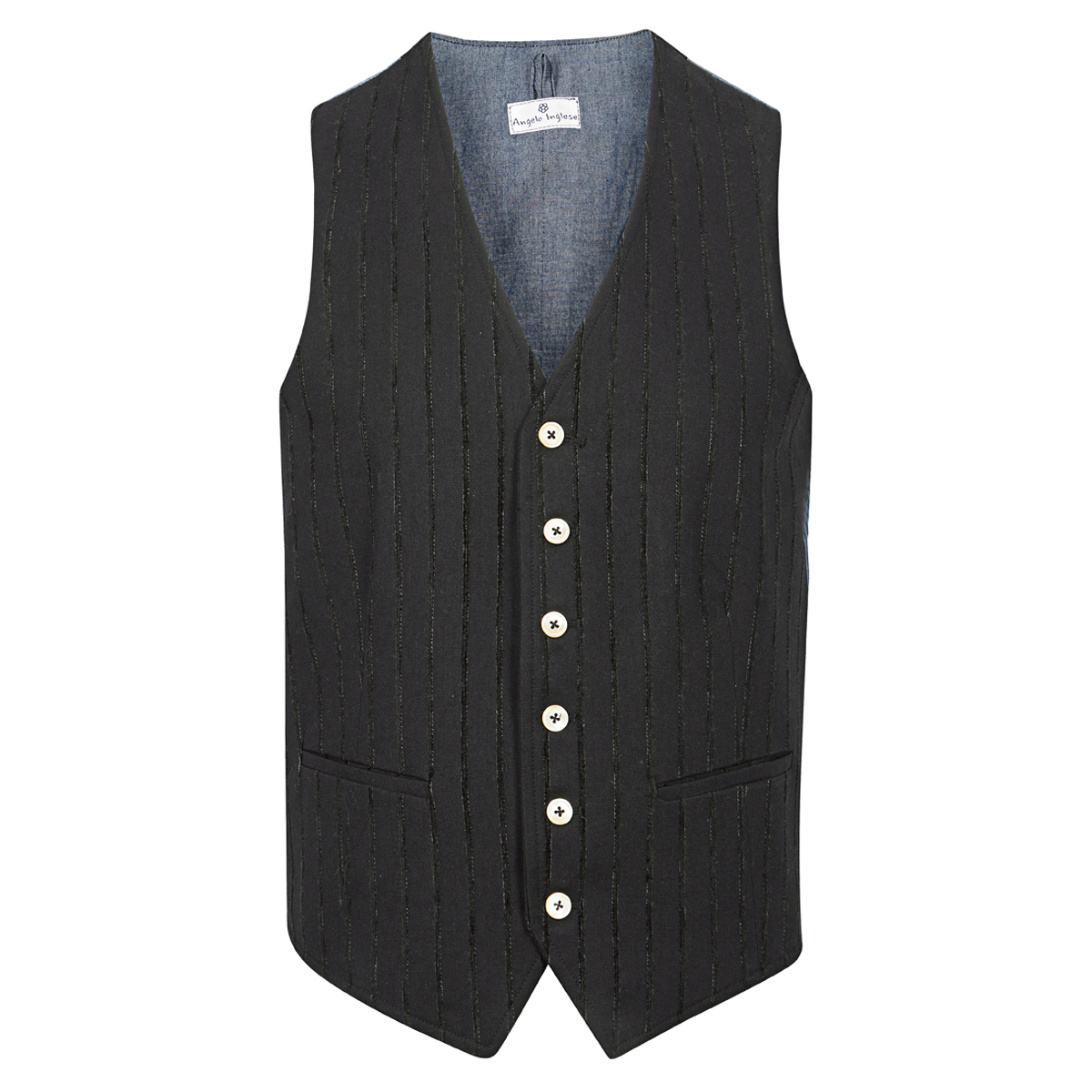 Black Striped Cotton Waistcoat