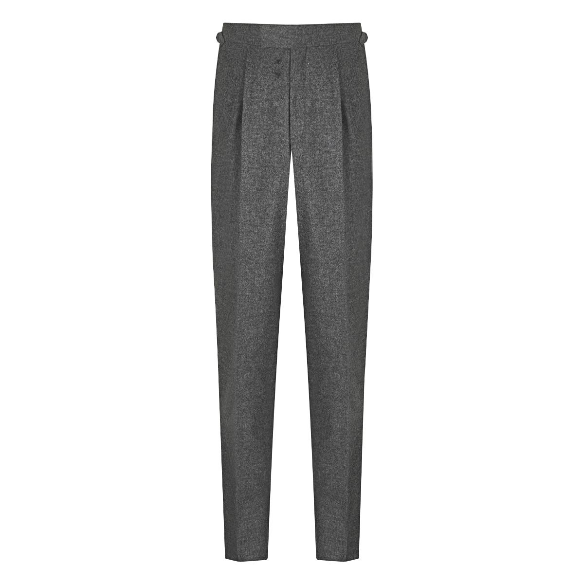 Grey Duke Pleated Wool Trouser