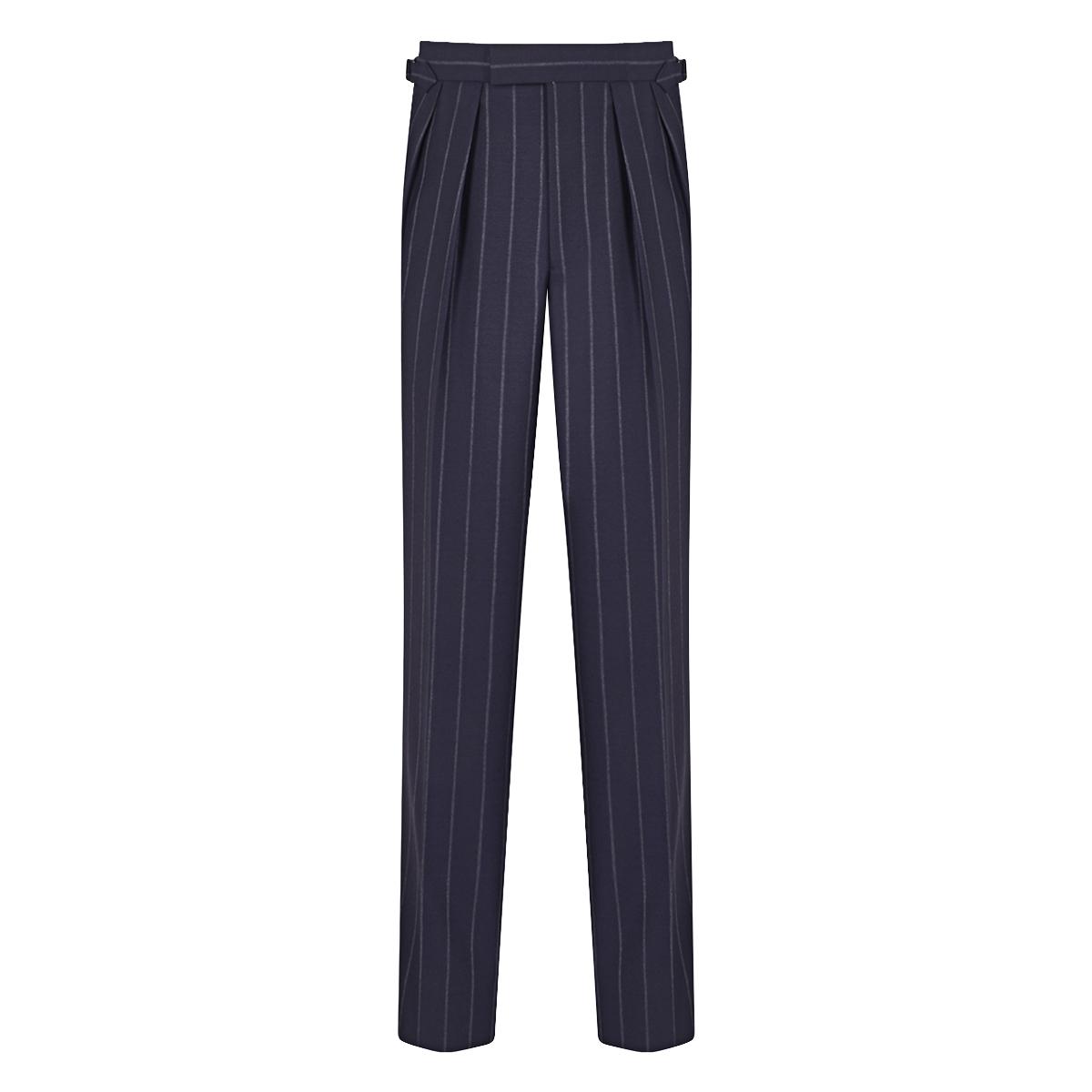 Navy Blue Aleksandar Chalkstripe Wool Trouser