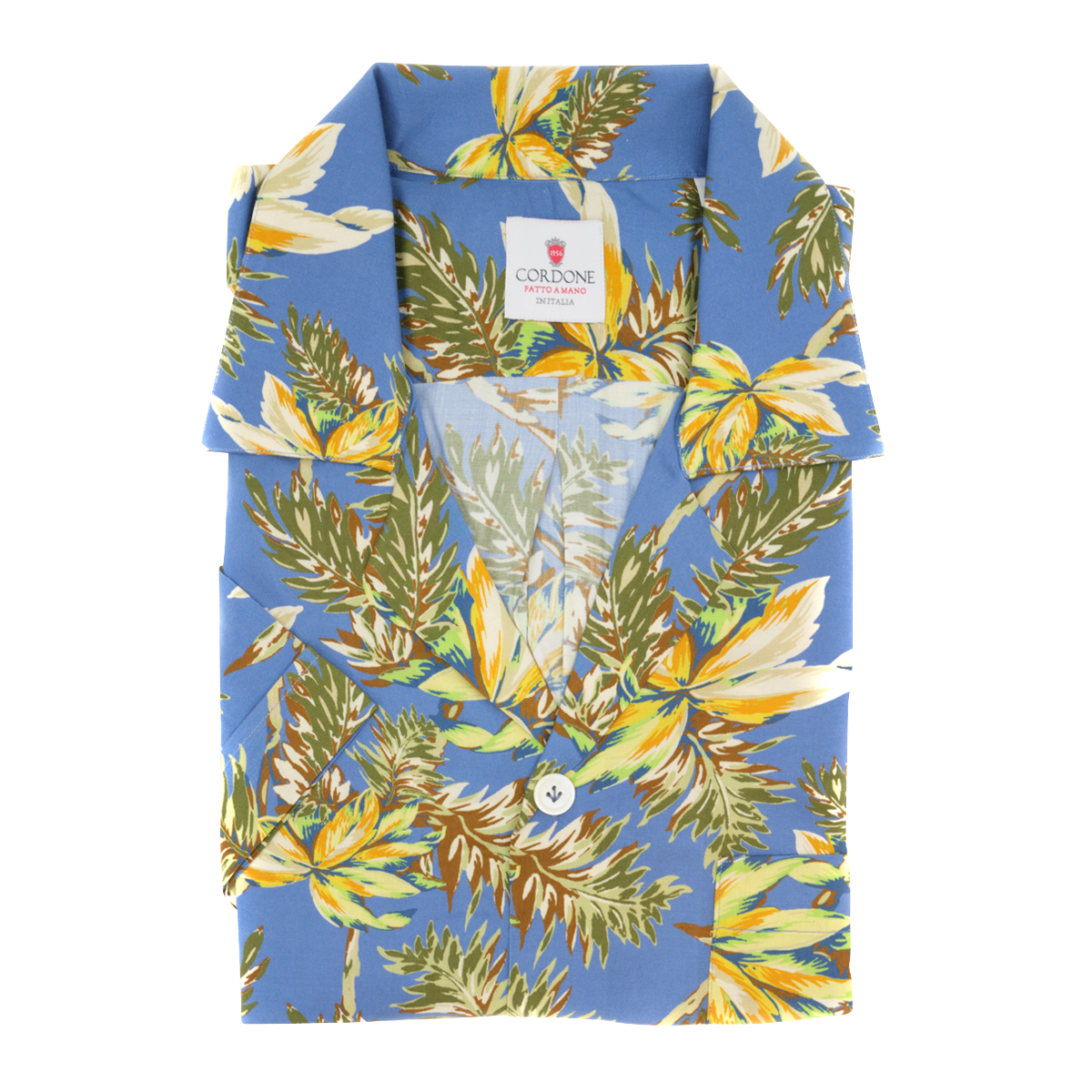 Azure and Yellow Viscose Honolulu Hawaiian Shirt