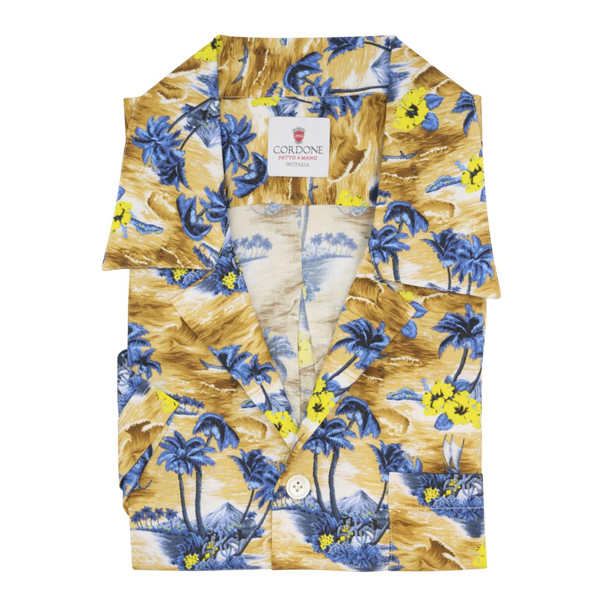 Yellow and Brown Viscose Hilo Hawaiian Shirt