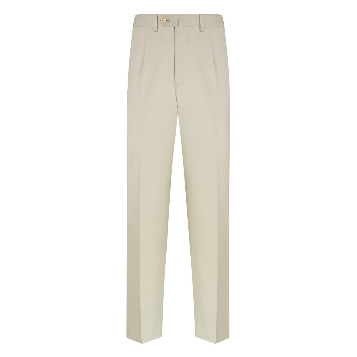Cream Cotton Single-Pleated Trousers