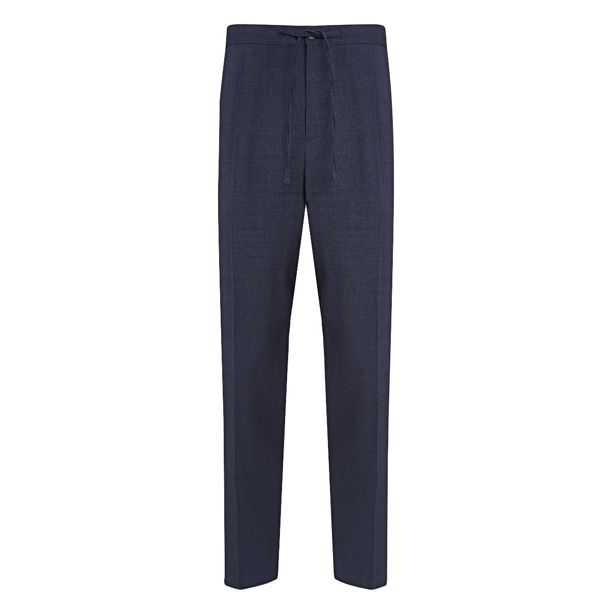 Blue Virgin Wool Blend Drawstring Trousers