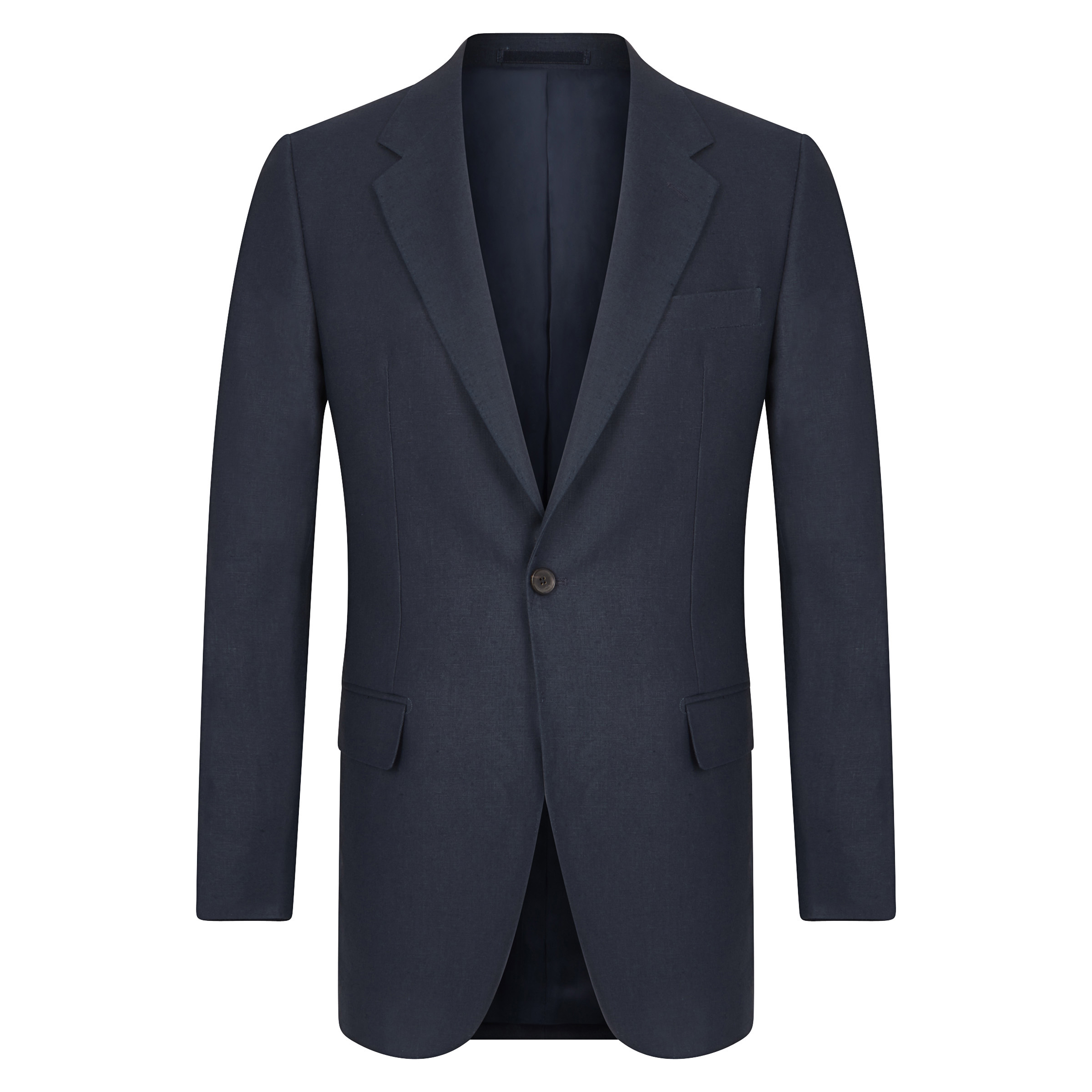 Midnight Blue Linen Single-Breasted Suit