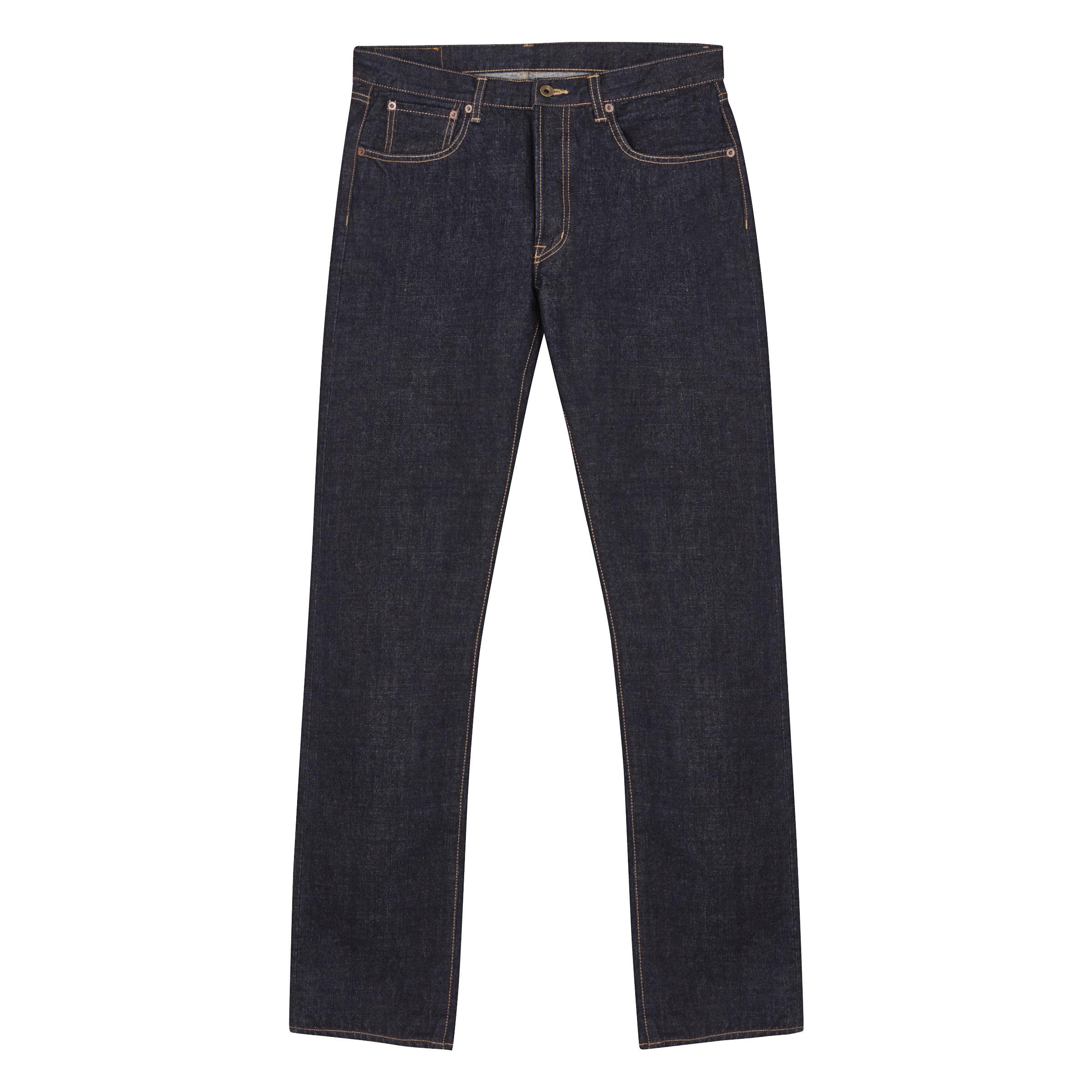 Navy Cotton Kurashiki Japanese Denim Button Fastening Jeans