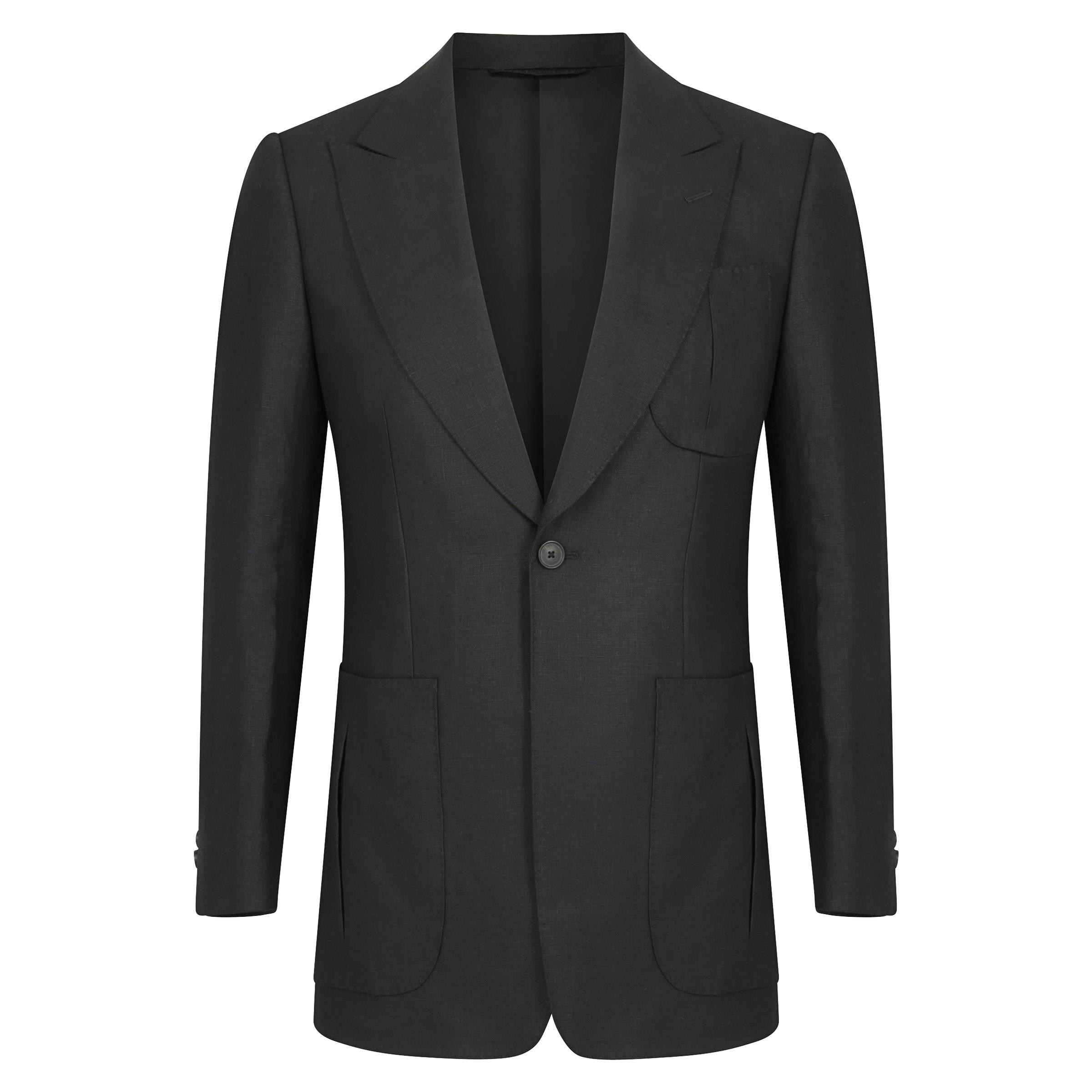 Black Linen Single-Breasted Jacket