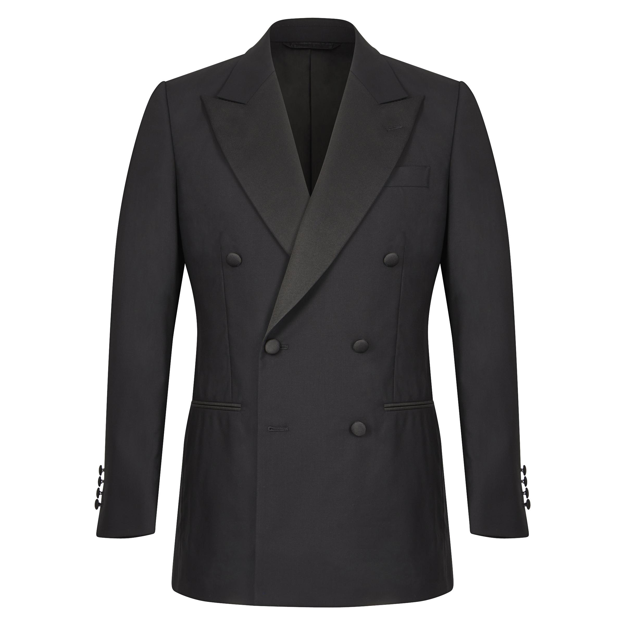 Black Wool Double-Breasted Dinner Jacket