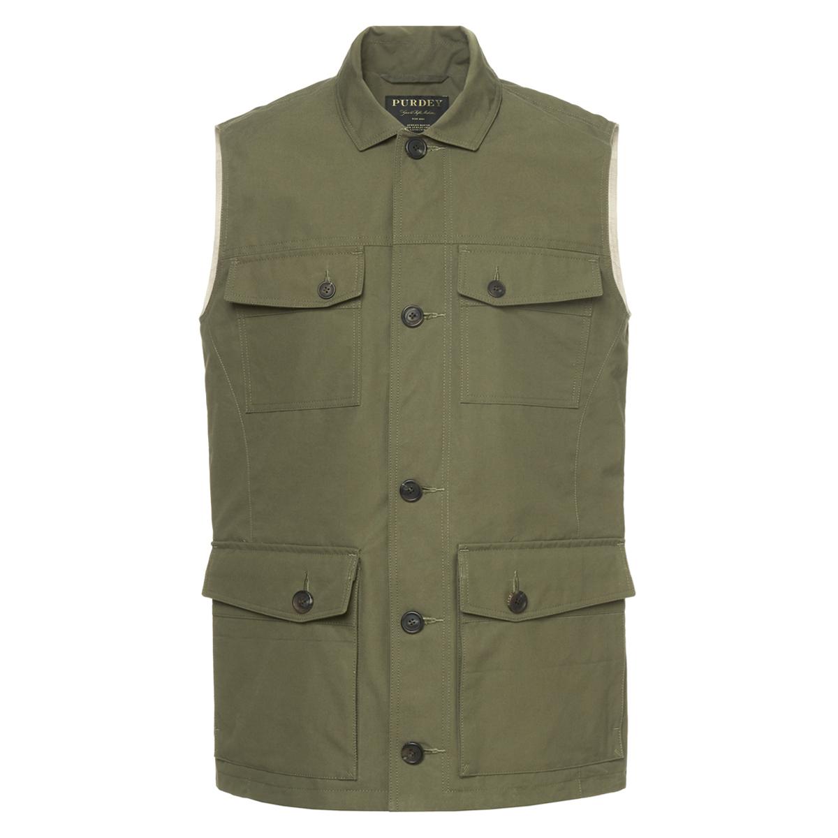 Green Cotton Percival Safari Gilet