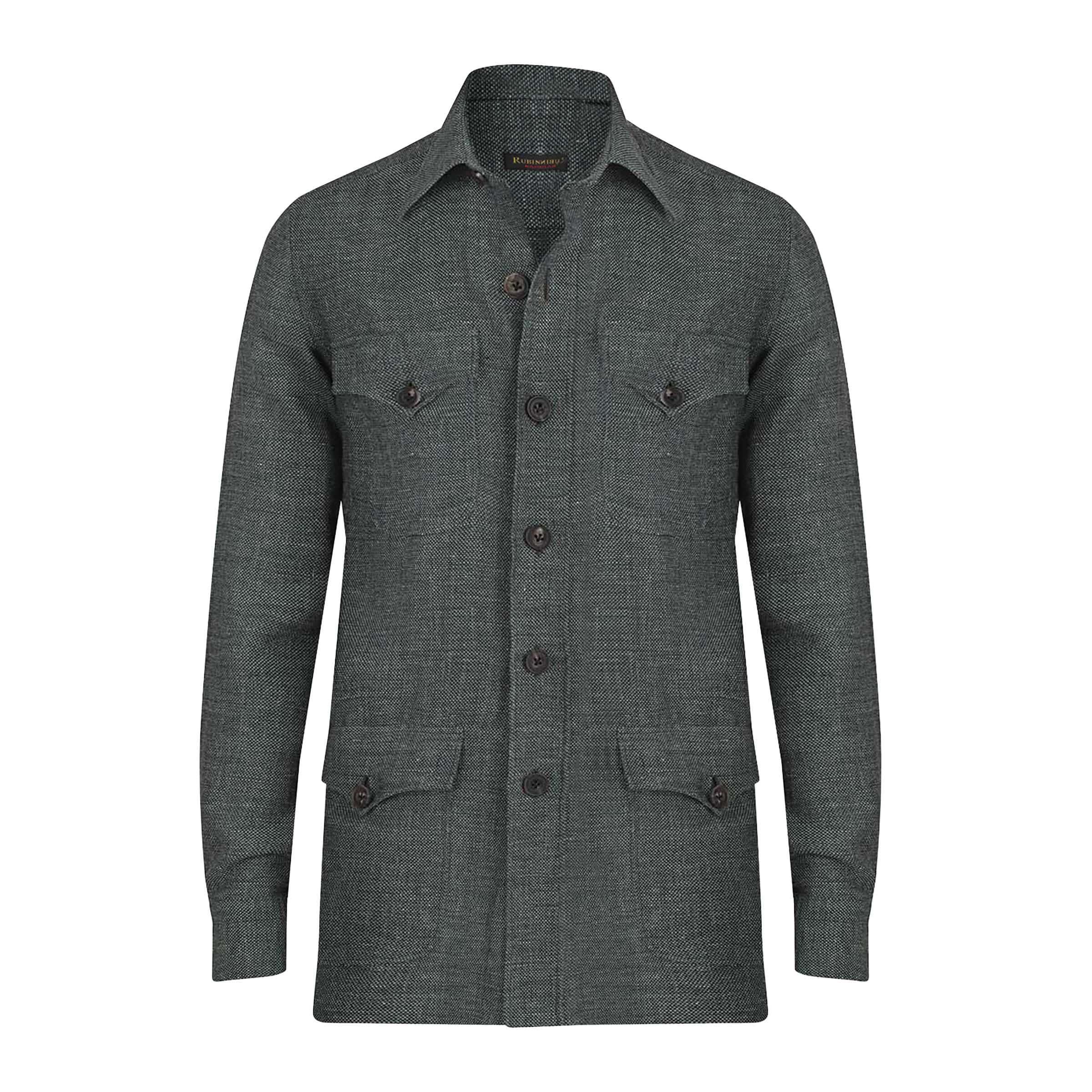 Green Linen and Wool Safari Jacket