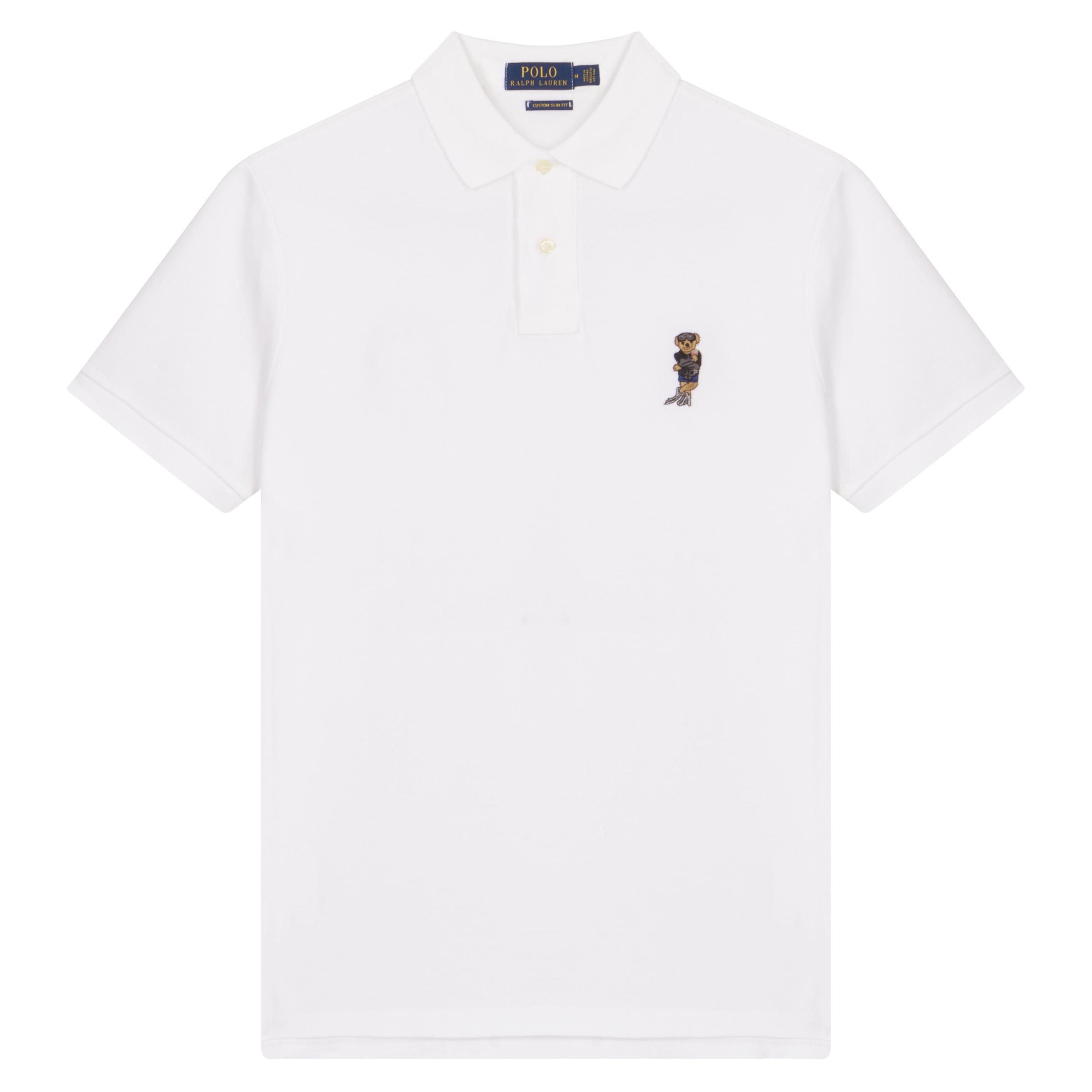 White Cotton Bearfoot Negroni Bear Day Polo Shirt