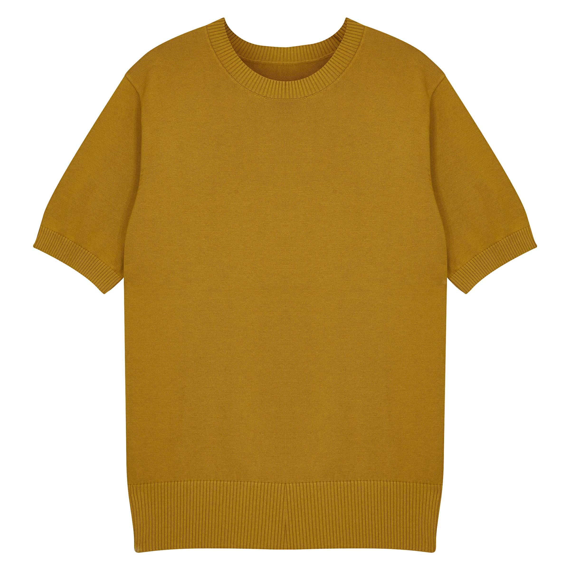 Mustard Knitted Supima Cotton T-Shirt