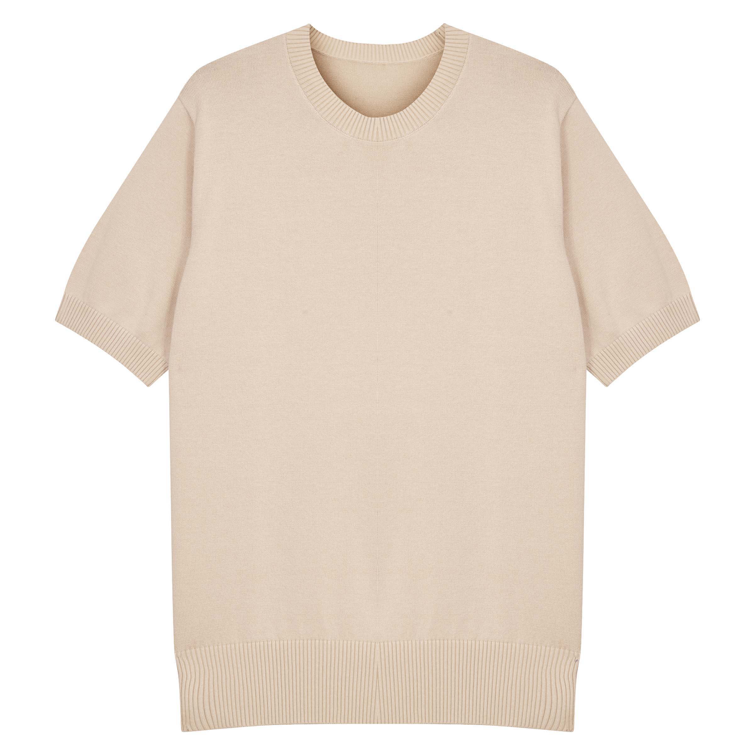 Ecru Knitted Supima Cotton T-Shirt