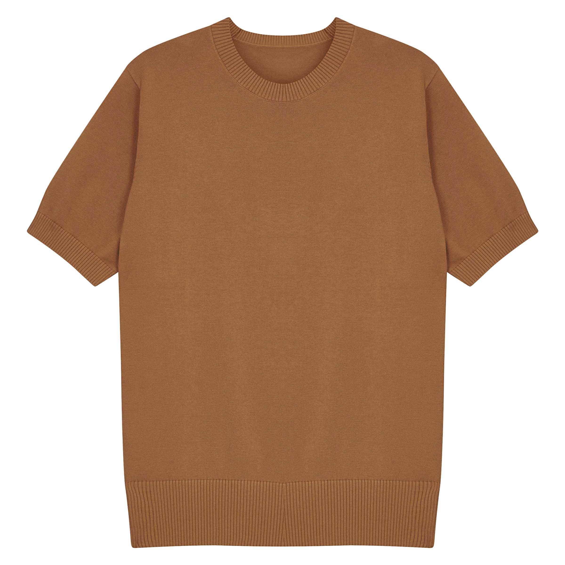 Caramel Knitted Supima Cotton T-Shirt