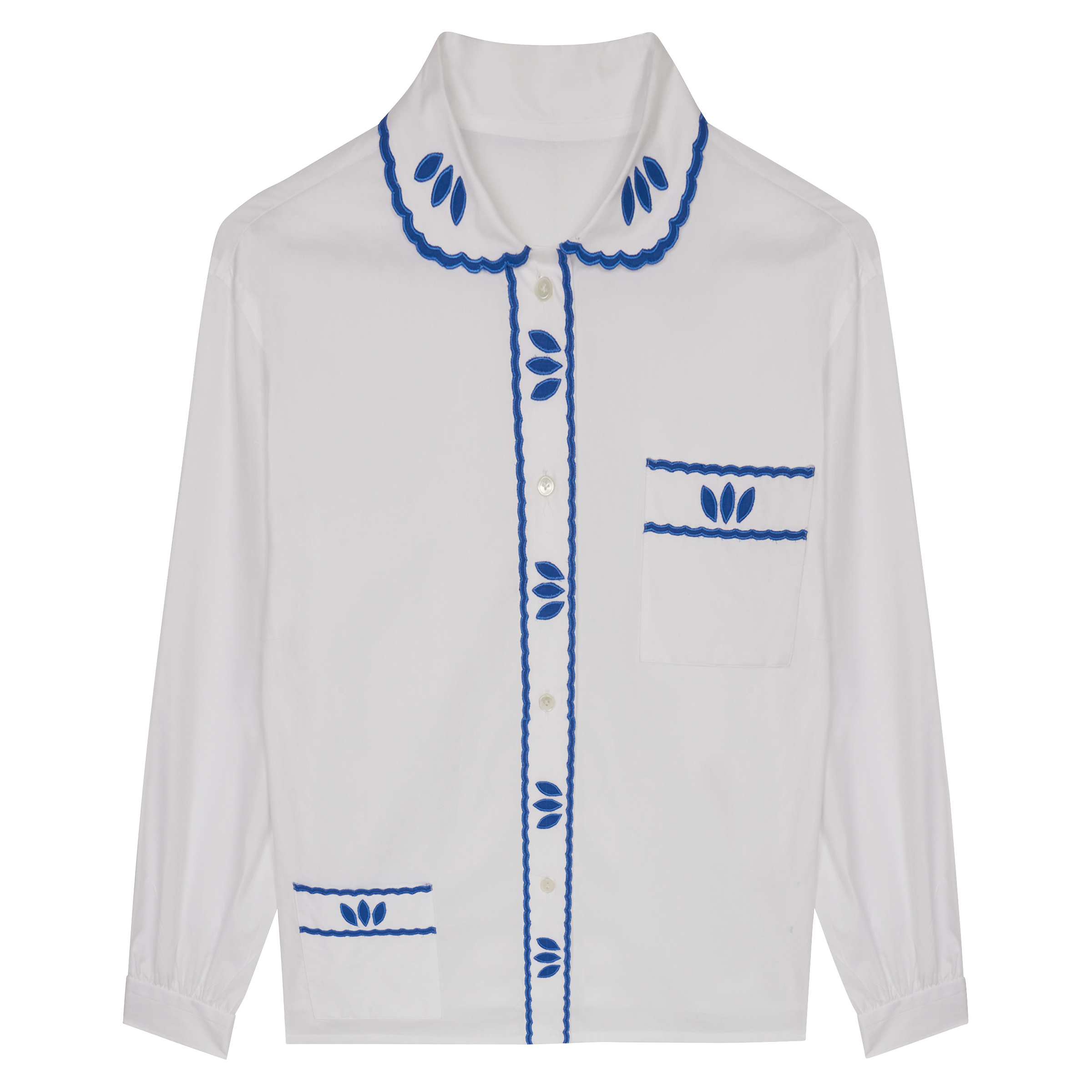 Calce White Cotton with Blue Embroidery Pyjama Shirt