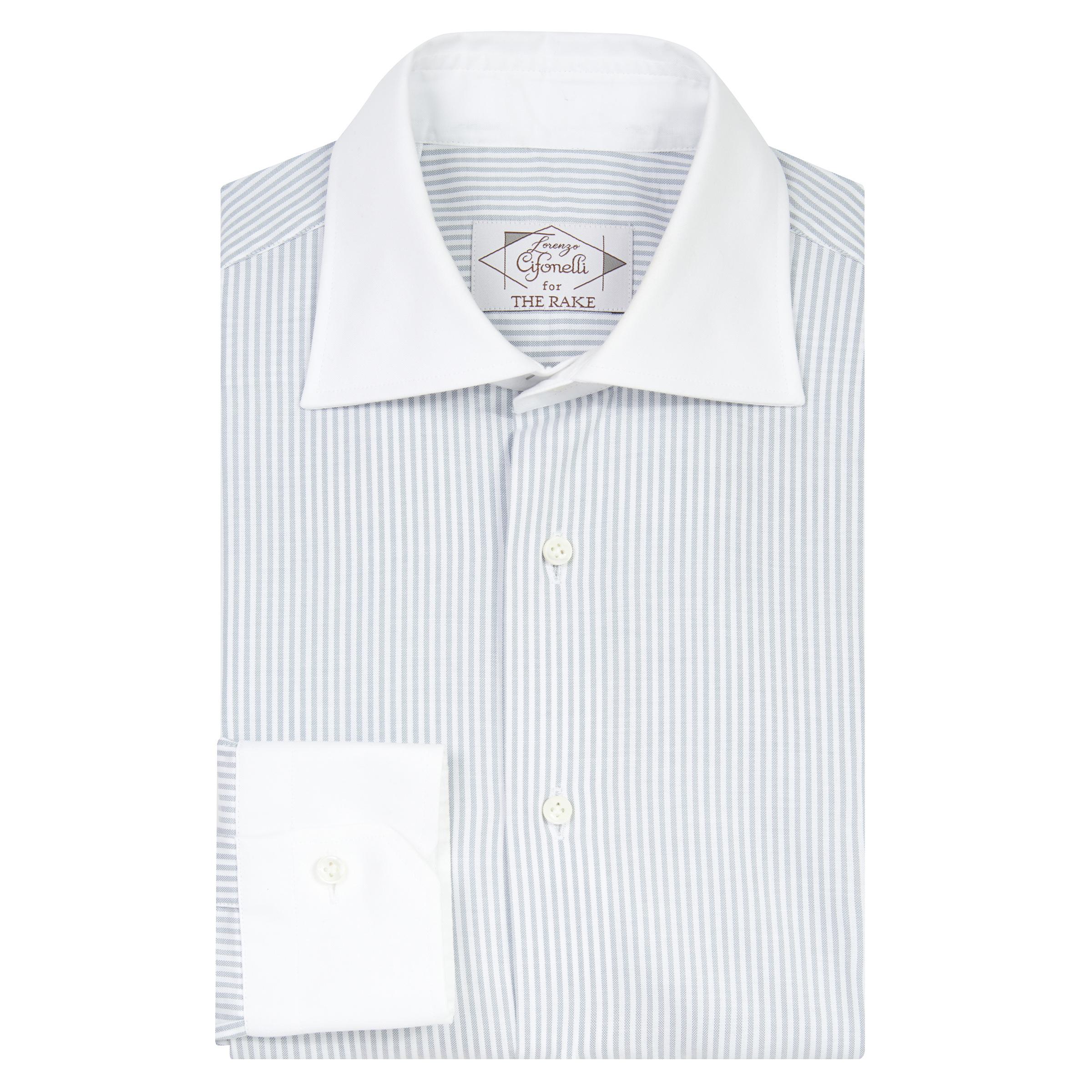 Light Grey Cotton Striped Contrast Collar Shirt