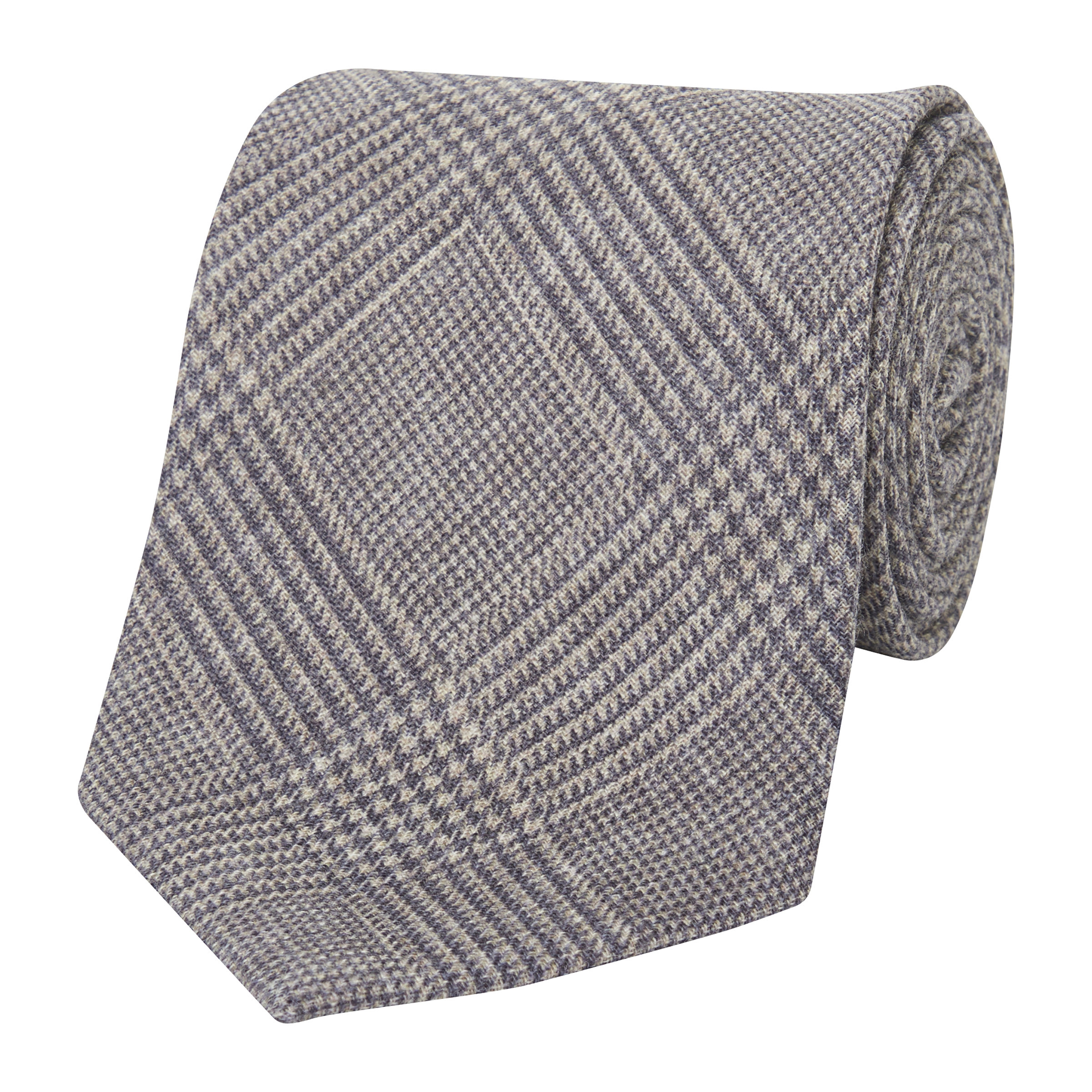 Light Grey Glen Check Textured Tie