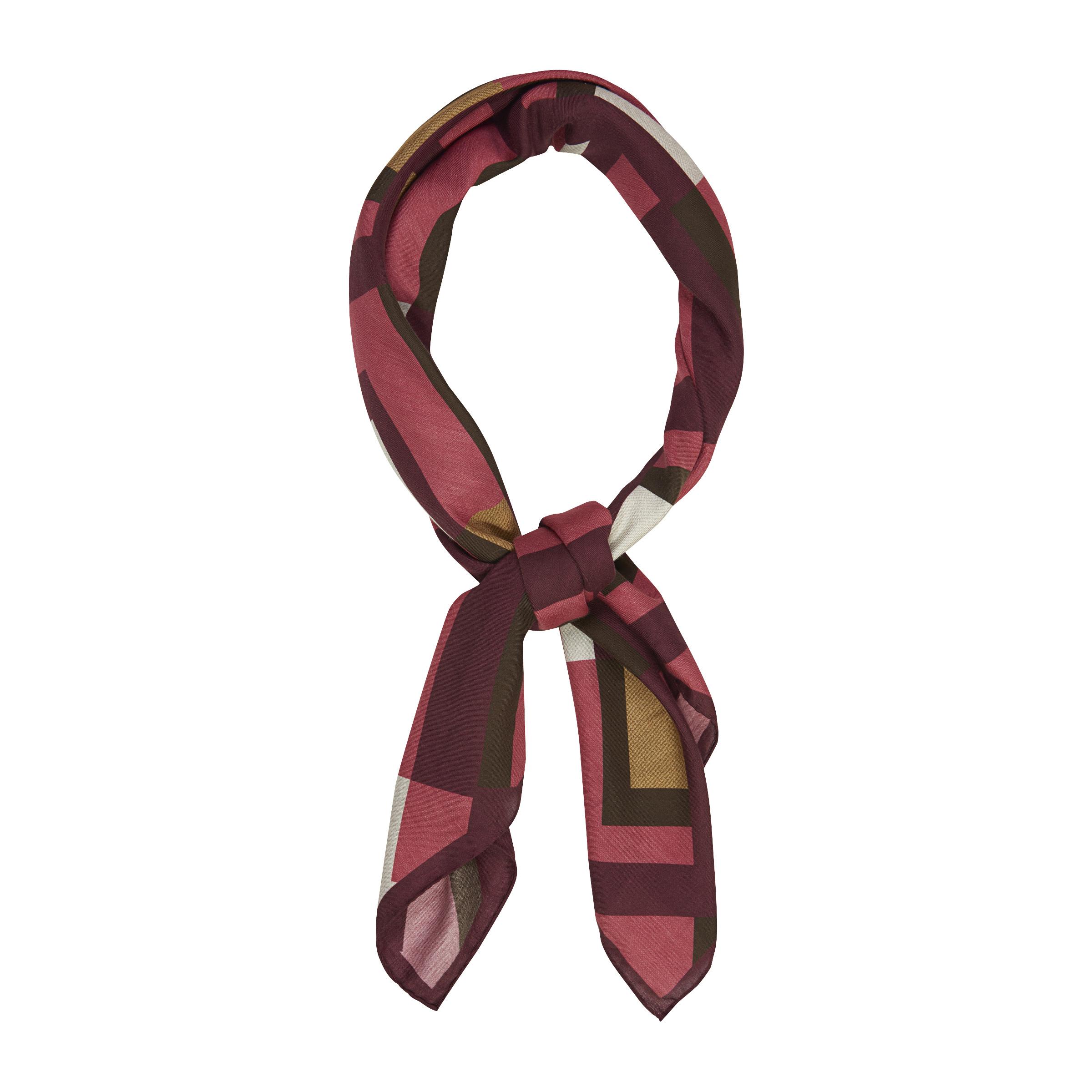 Raspberry Pink Wool Geomatrical Scarf