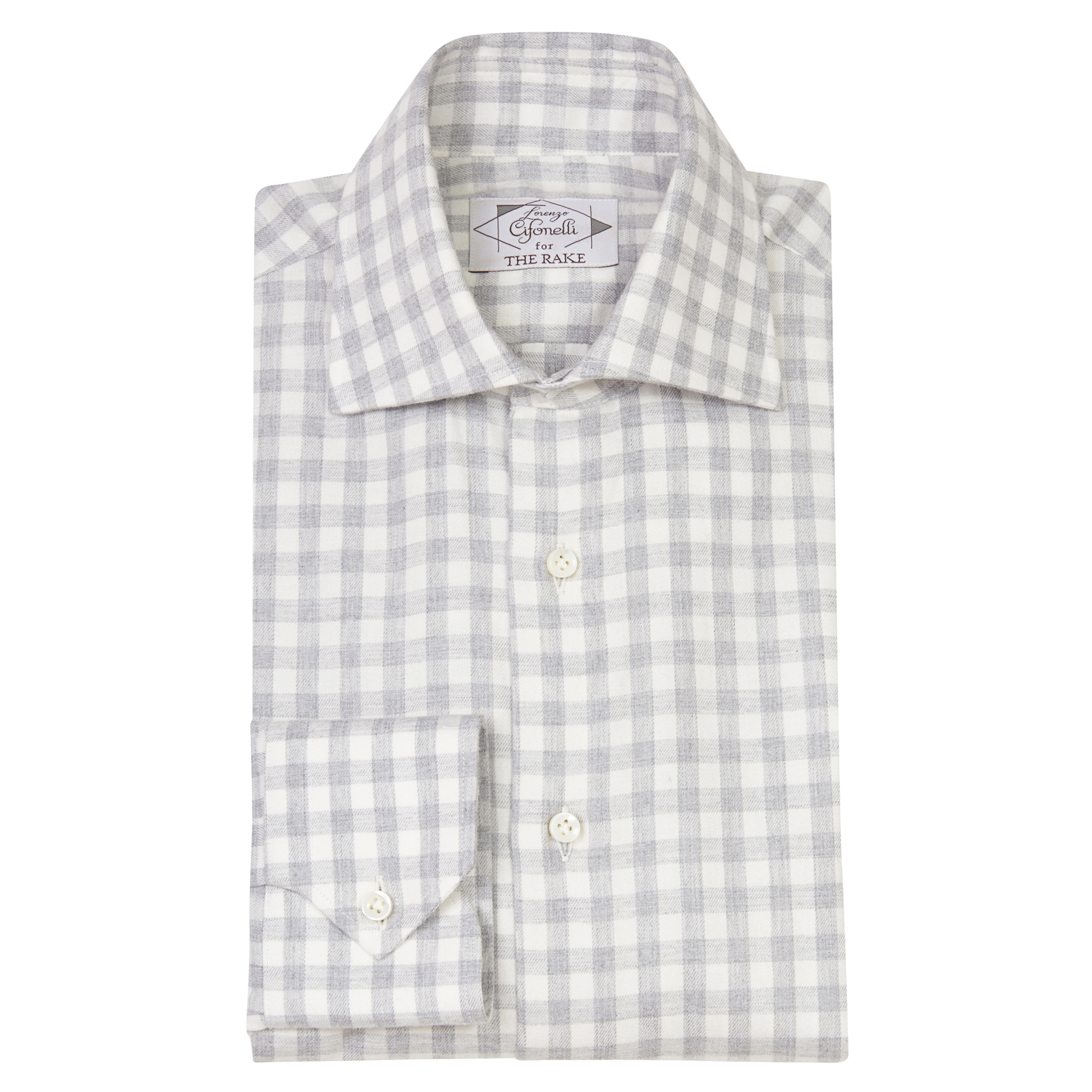 Light Grey Gingham Cotton Shirt