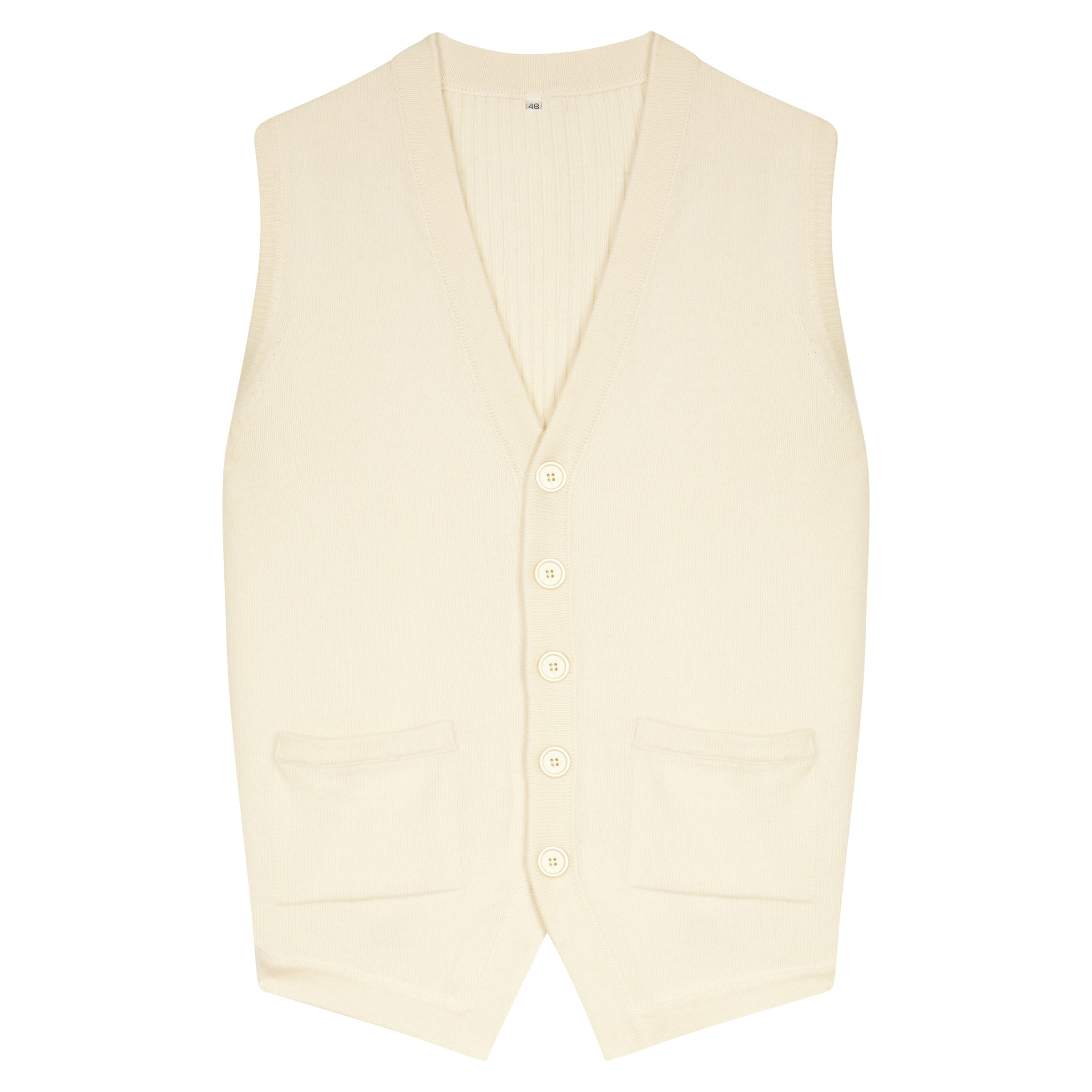 Cream Wool and Cashmere Knitted Waistcoat