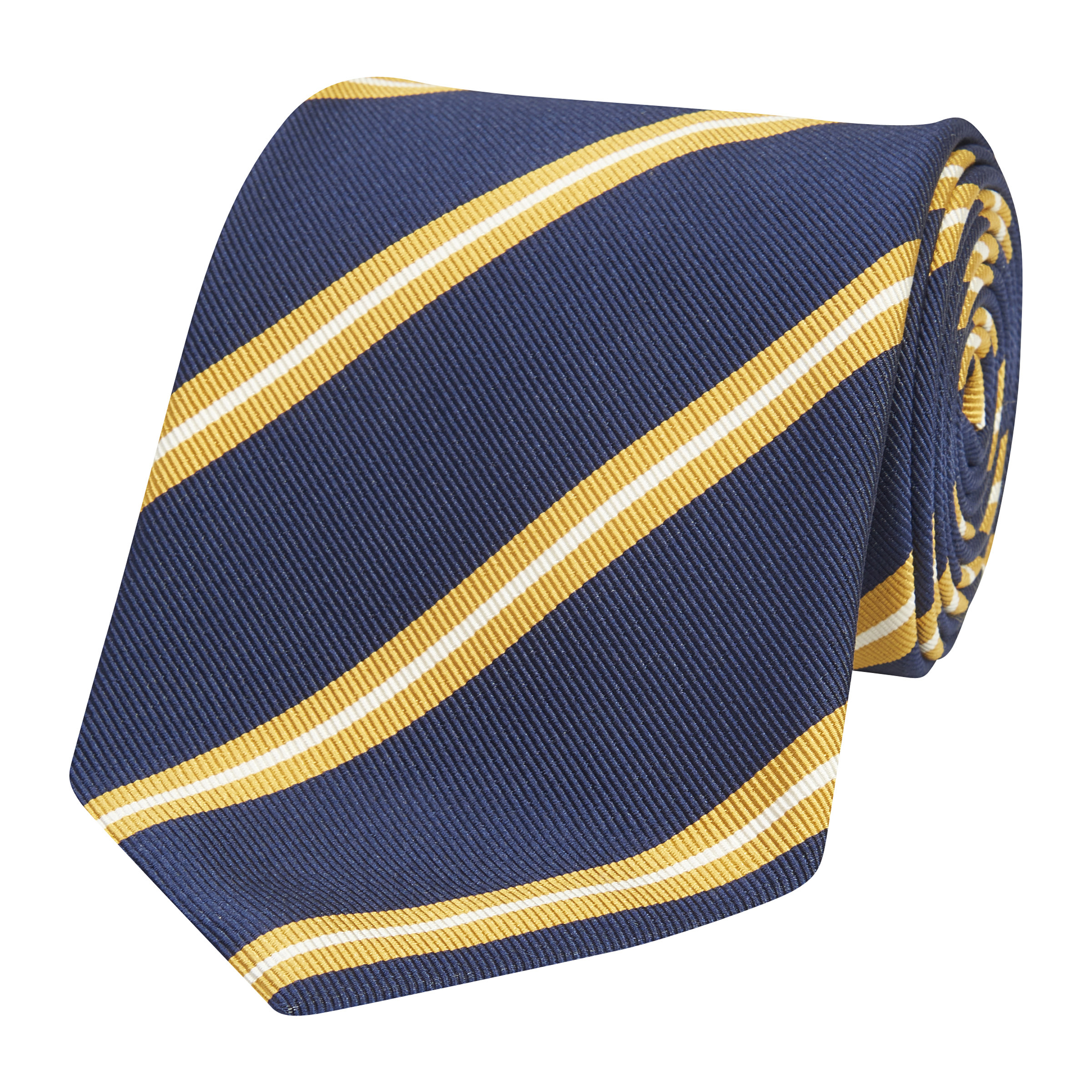 Navy and Yellow Silk Regimental Tie