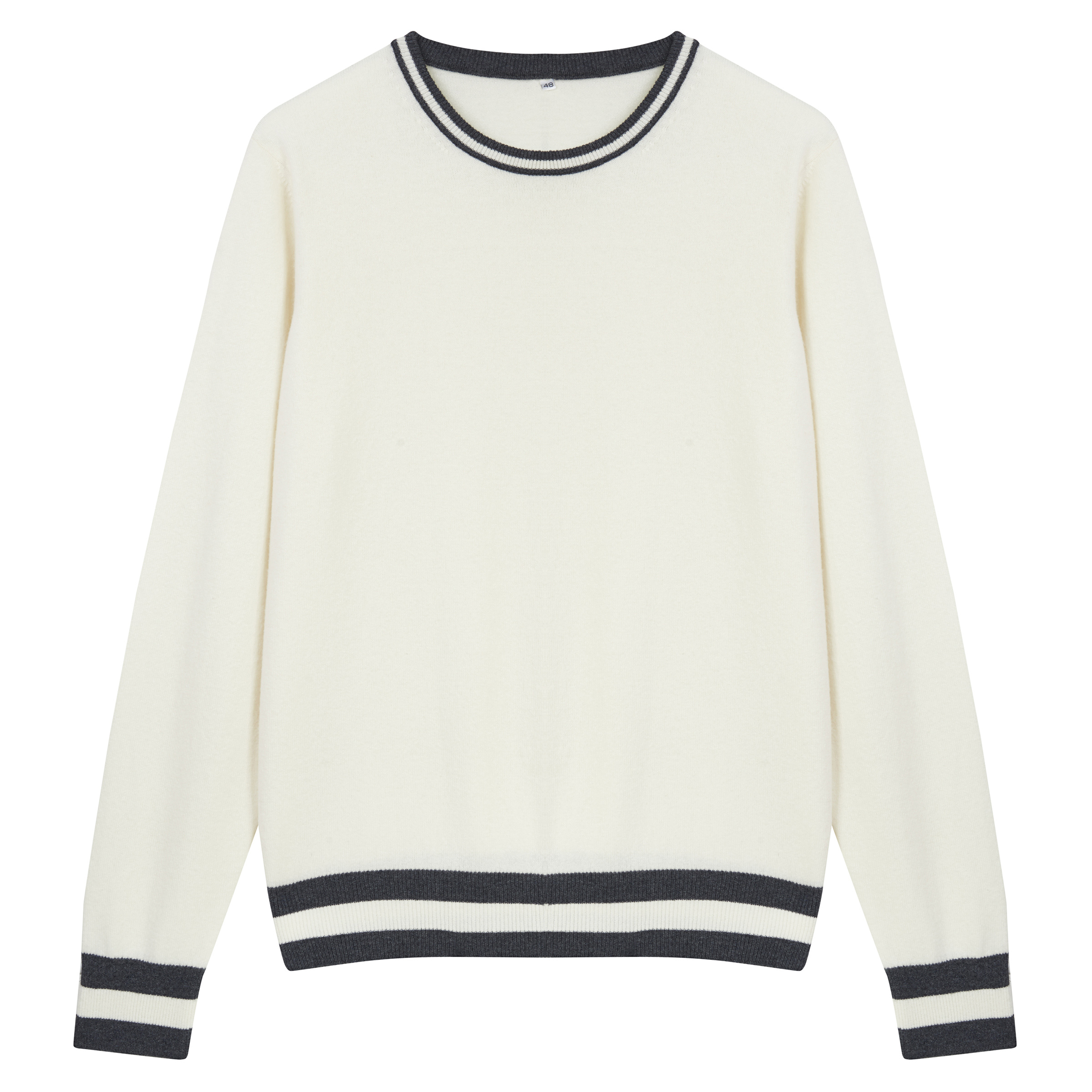 White Wool and Cashmere Charcoal Bands Sweater